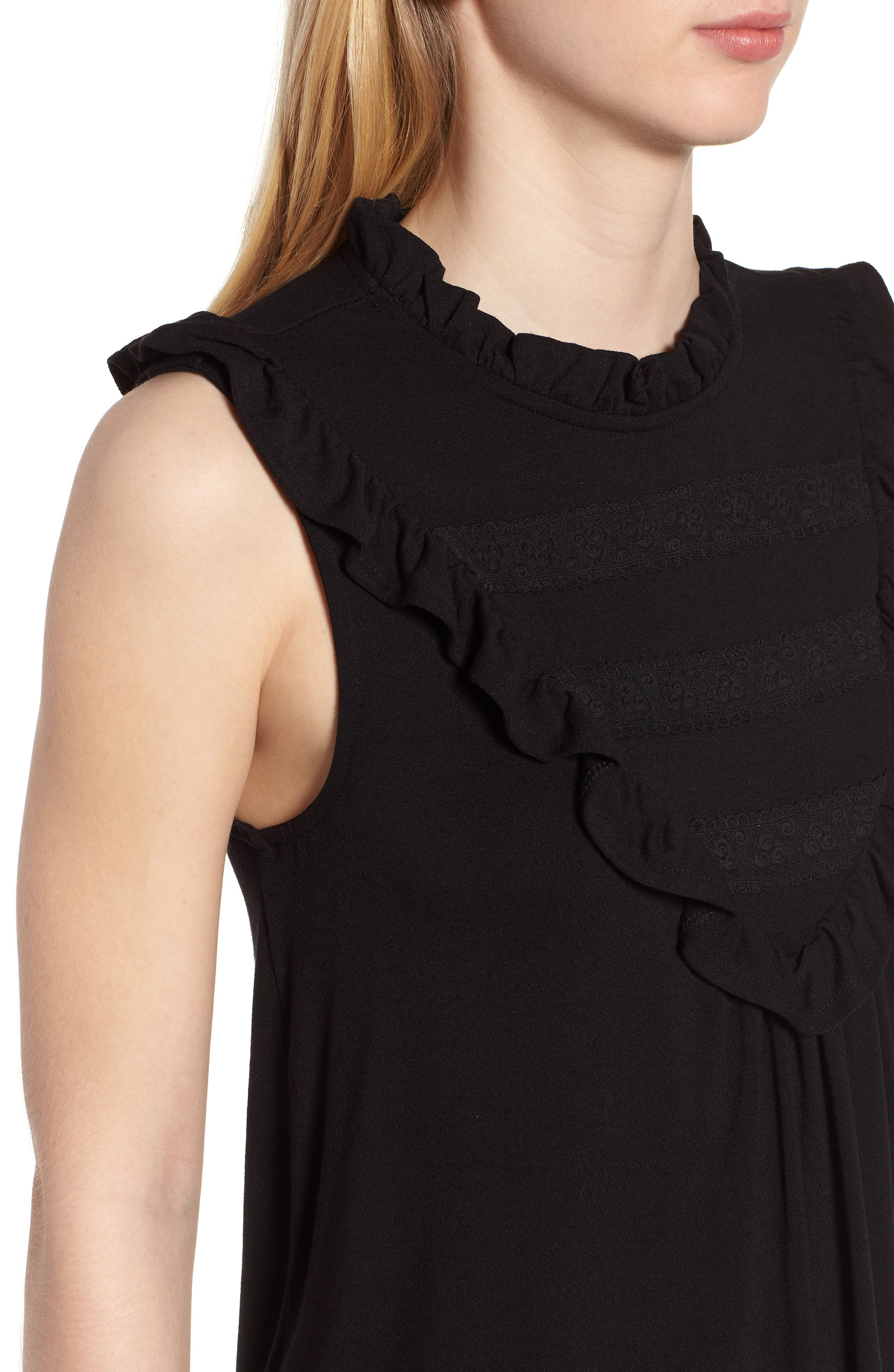Lace Inset Tank Top,                             Alternate thumbnail 4, color,                             001