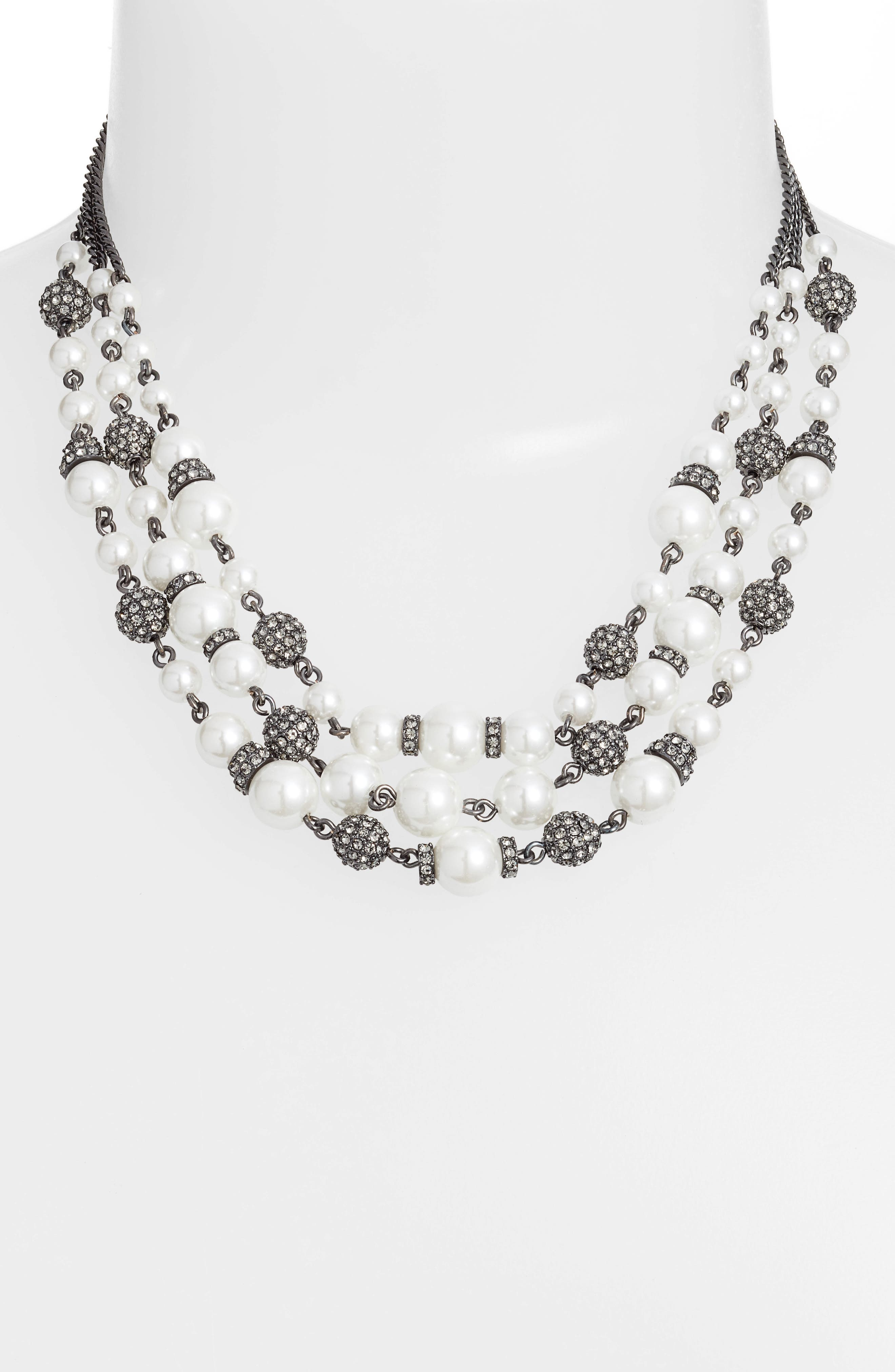 Bead & Crystal Collar Necklace,                             Alternate thumbnail 2, color,                             WHITE/ HEMATITE