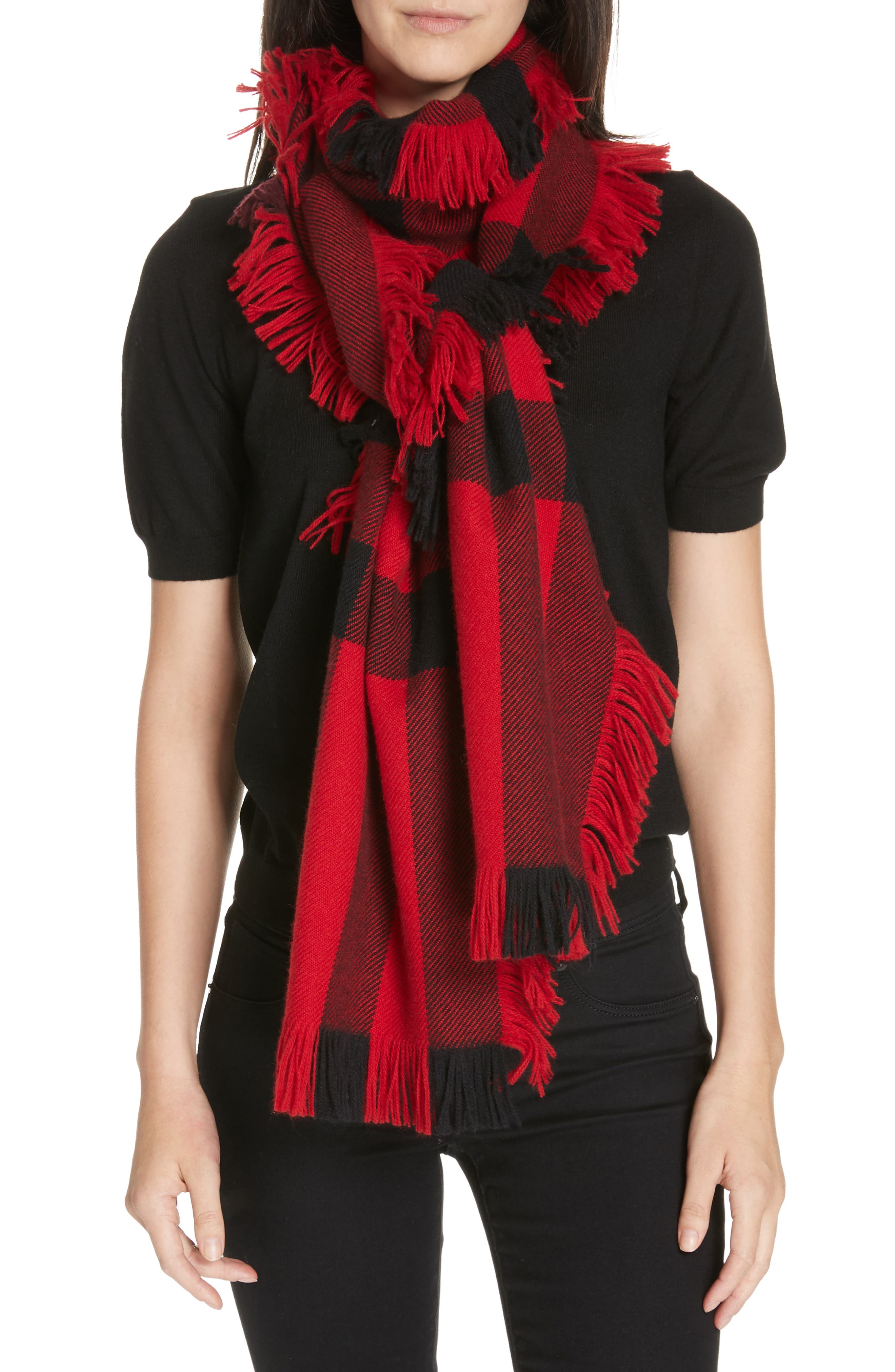 Mega Fashion Fringe Wool Scarf,                             Alternate thumbnail 2, color,                             MILITARY RED