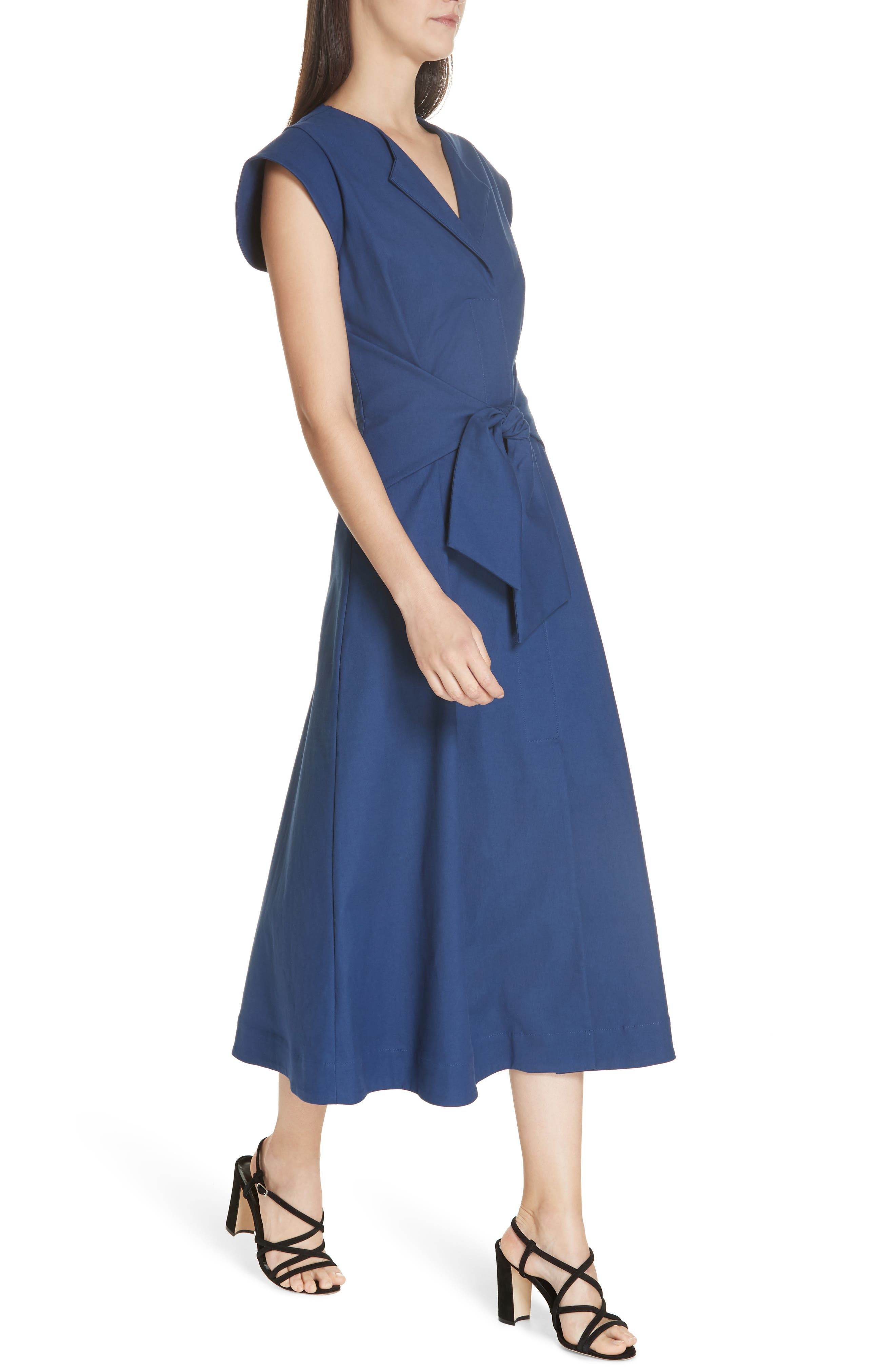 Lennox Belted Midi Dress,                             Alternate thumbnail 4, color,                             BLUE