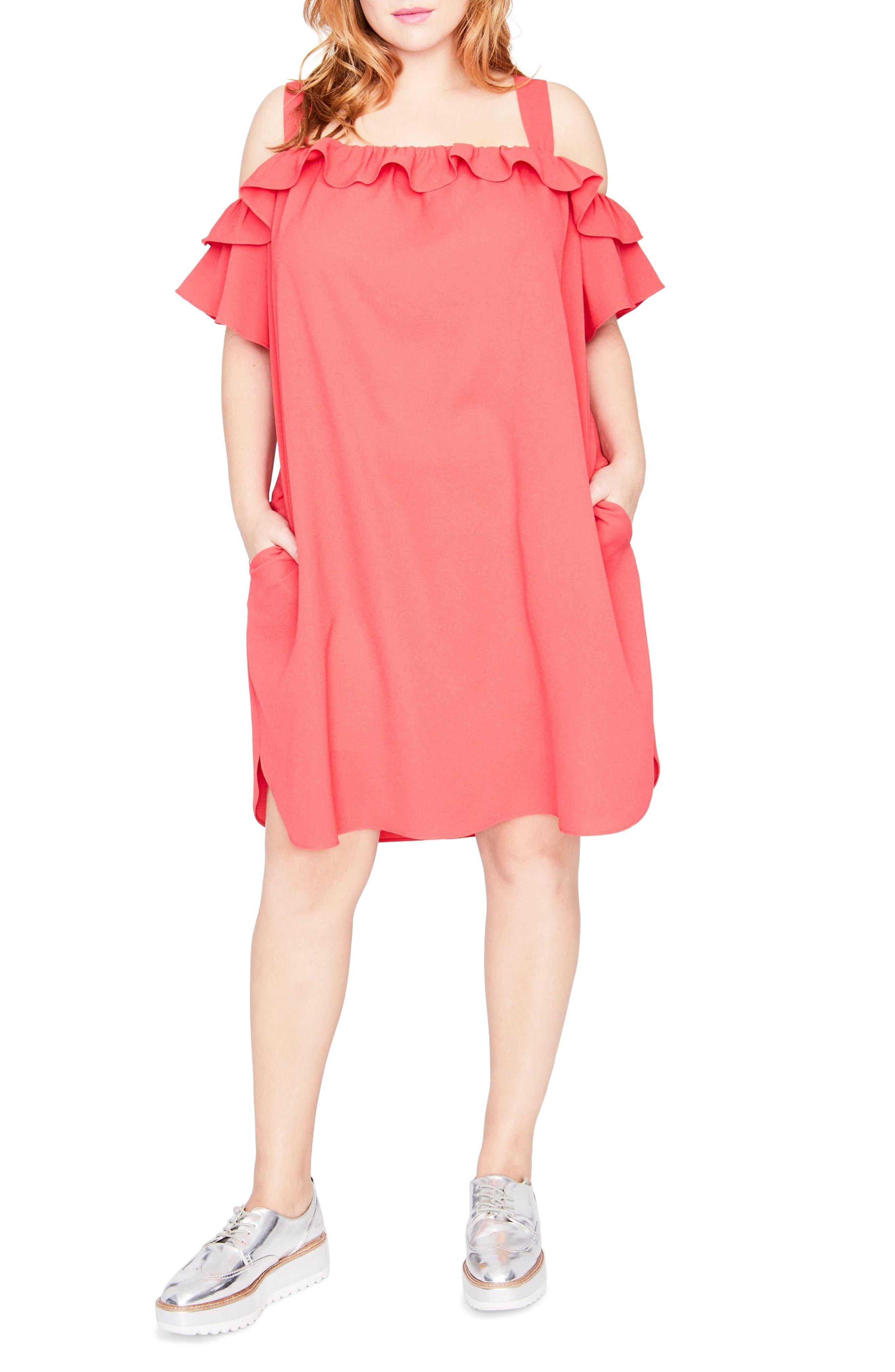 Ruffle Edge Dress,                             Main thumbnail 1, color,                             648