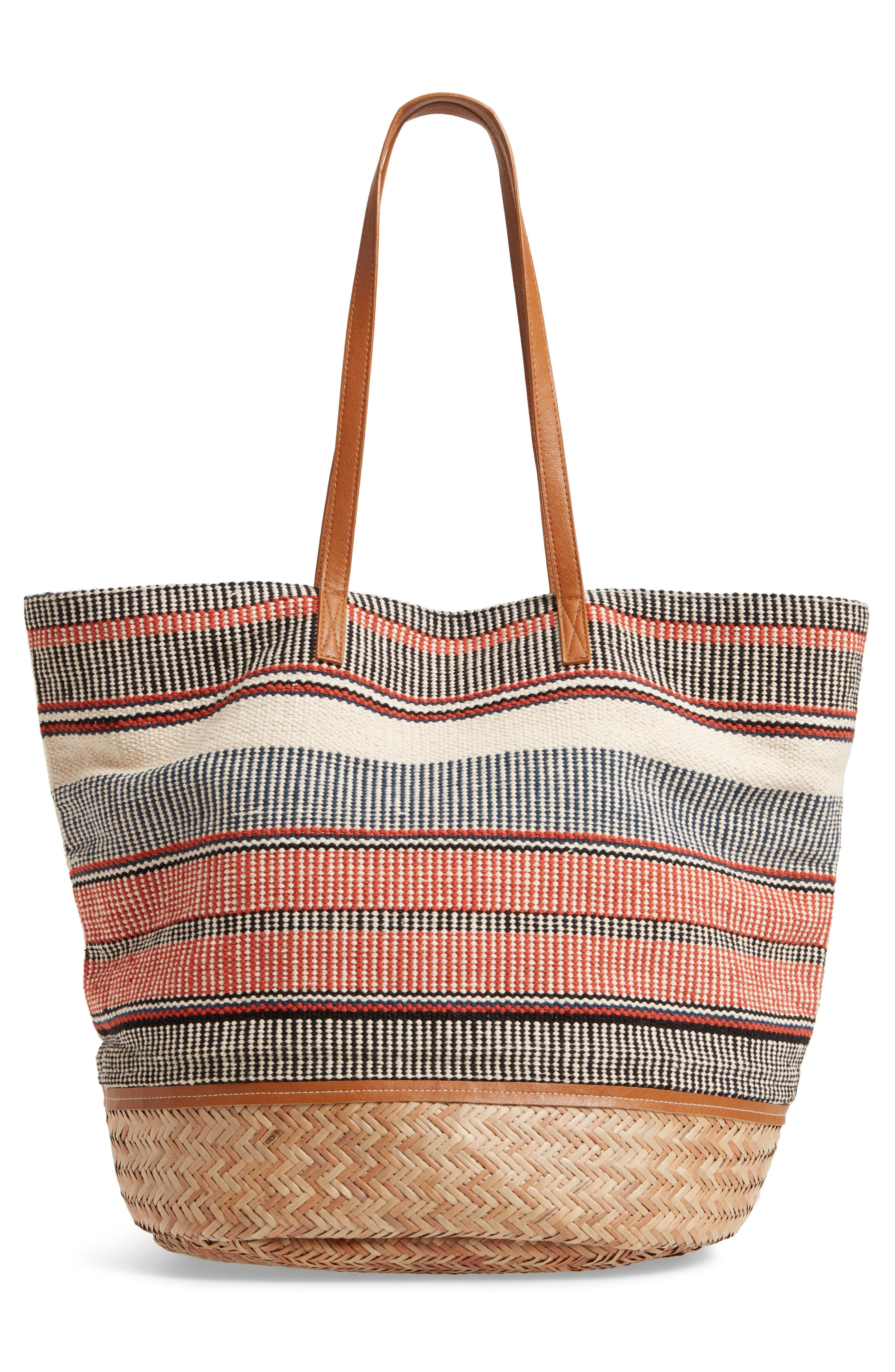 Oversized Fabric Tote,                             Alternate thumbnail 3, color,                             PINK MULTI