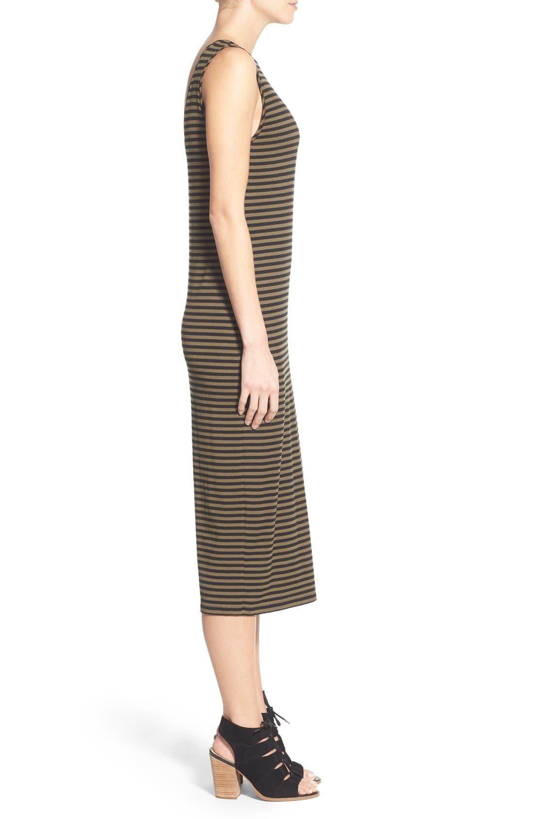 STEM,                             Stripe Scoop Back Midi Dress,                             Alternate thumbnail 4, color,                             300