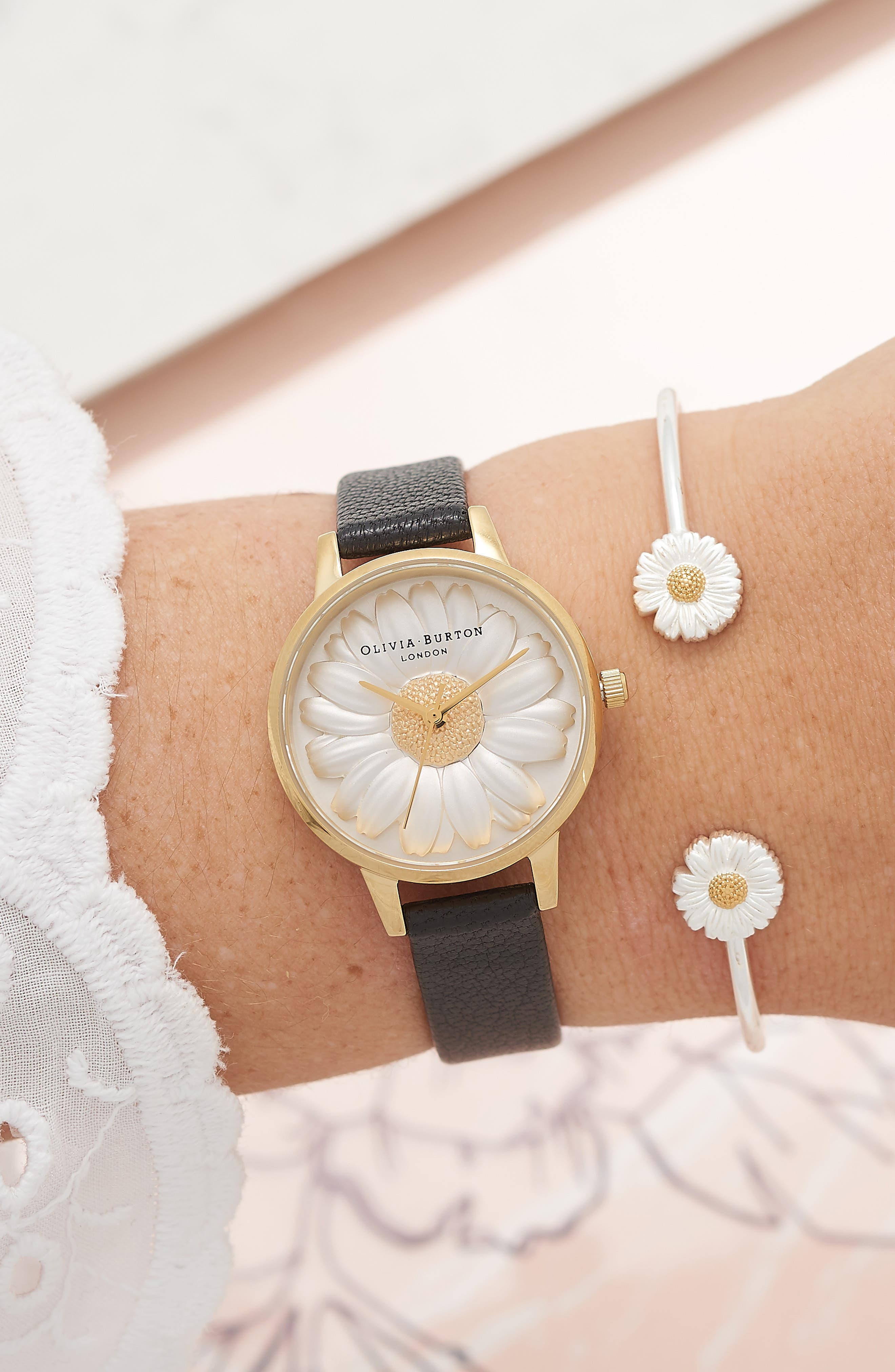 3D Daisy Leather Strap Watch, 30mm,                             Alternate thumbnail 9, color,                             BLACK/ GOLD