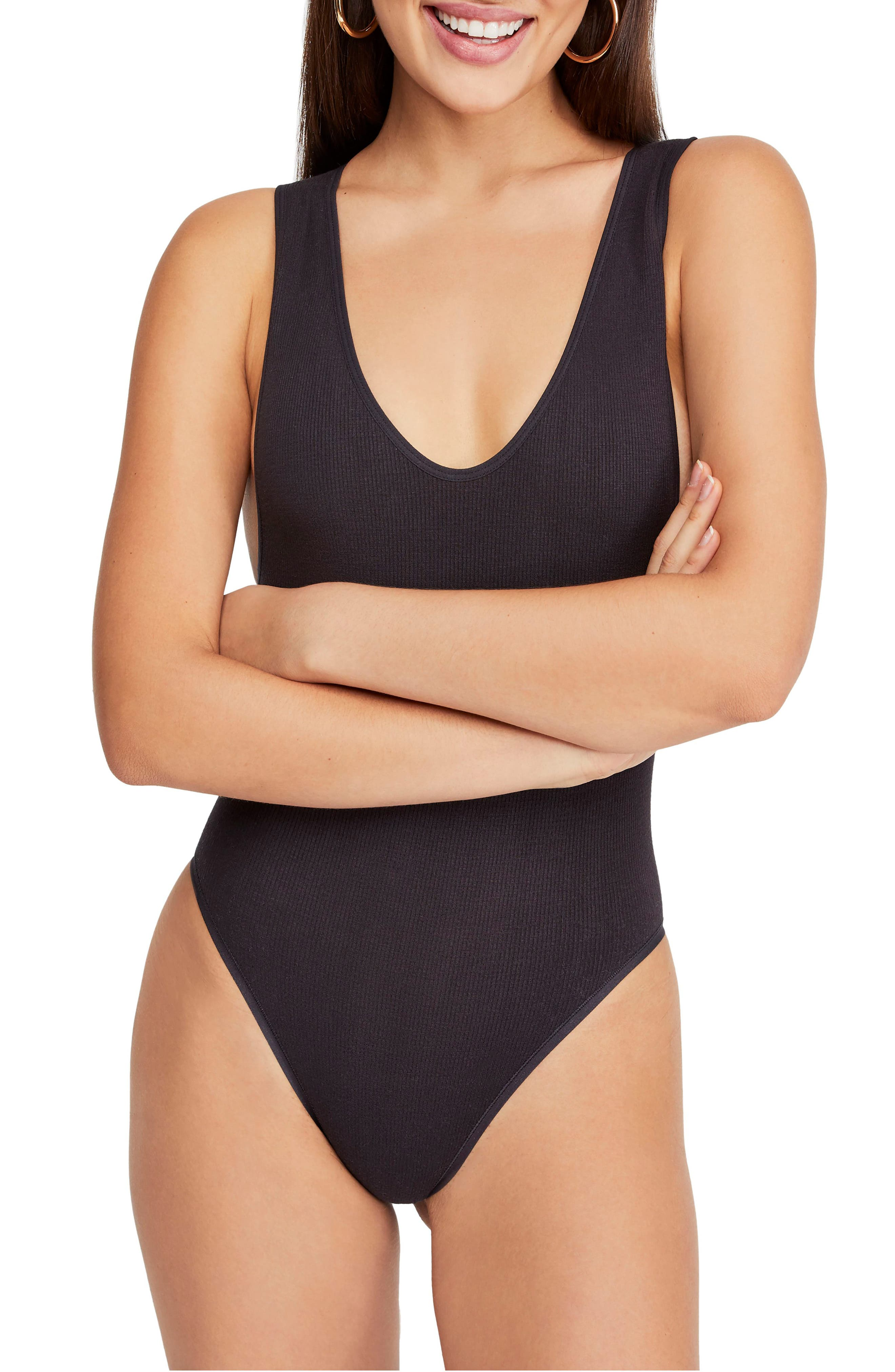 Urban Outfitters Seamless Bodysuit,                             Alternate thumbnail 2, color,                             BLACK