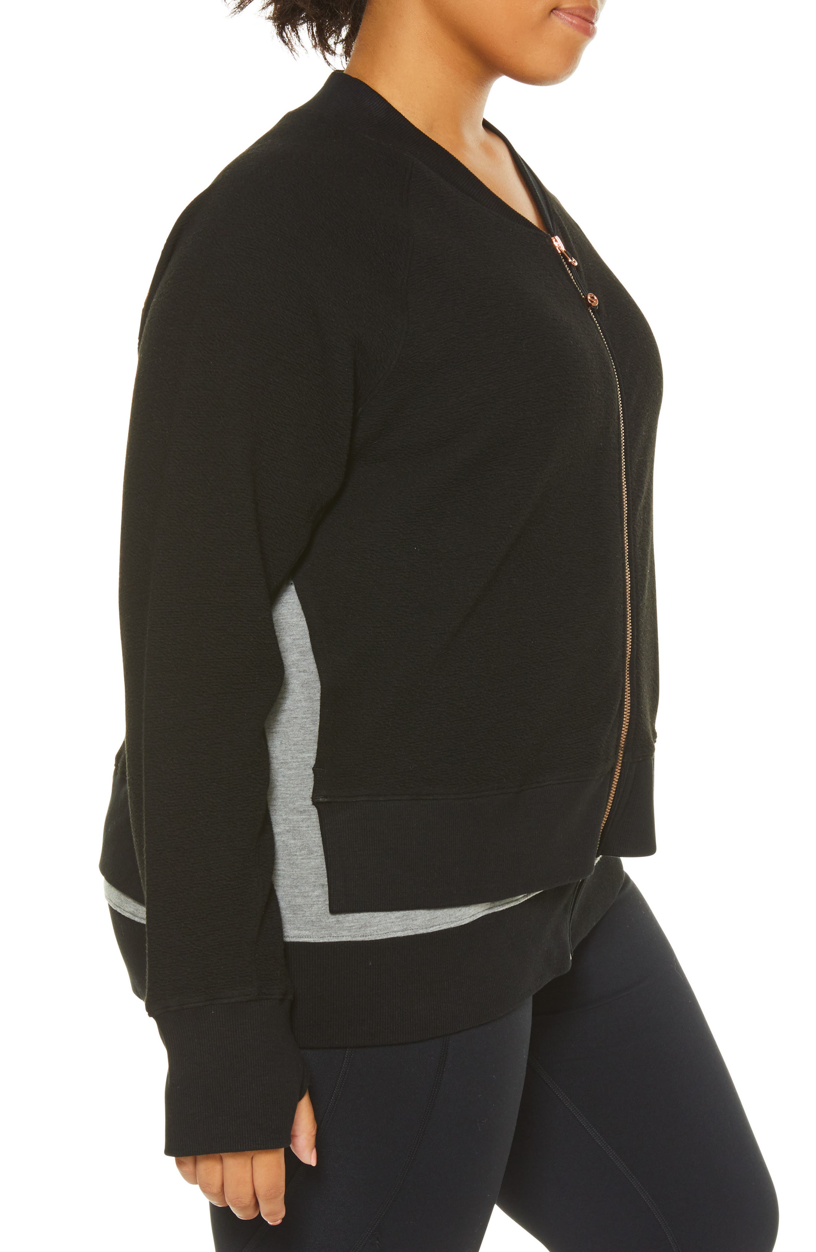 Sublime Double Layer Jacket,                             Alternate thumbnail 3, color,                             BLACK/ GREY HEATHER