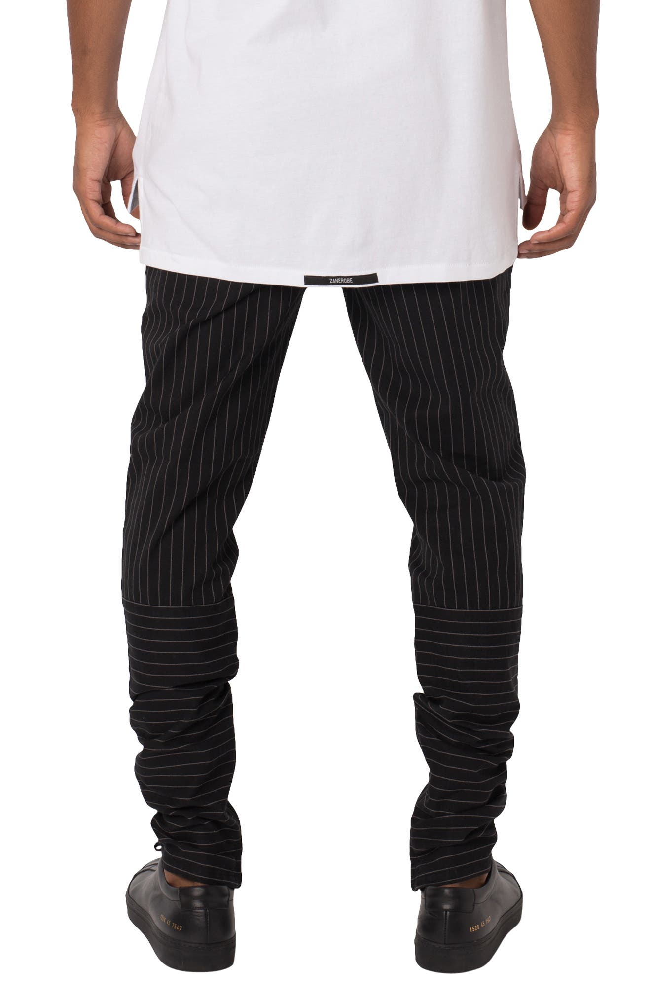 ZANEROBE,                             Unblockshot Pinstripe Chinos,                             Alternate thumbnail 2, color,                             BLACK/ WHITE