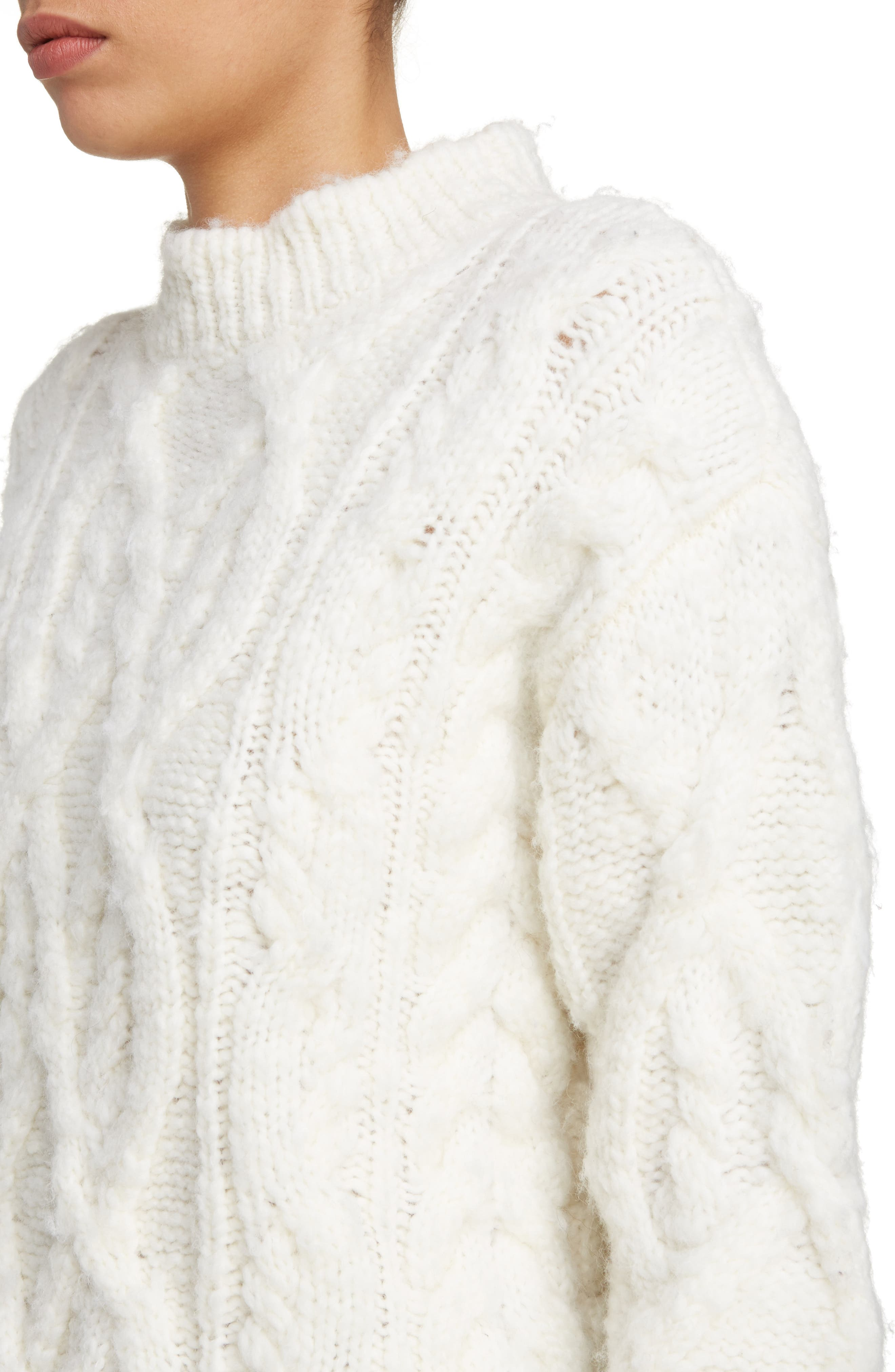 Edyta Cable Knit Sweater,                             Alternate thumbnail 4, color,                             900