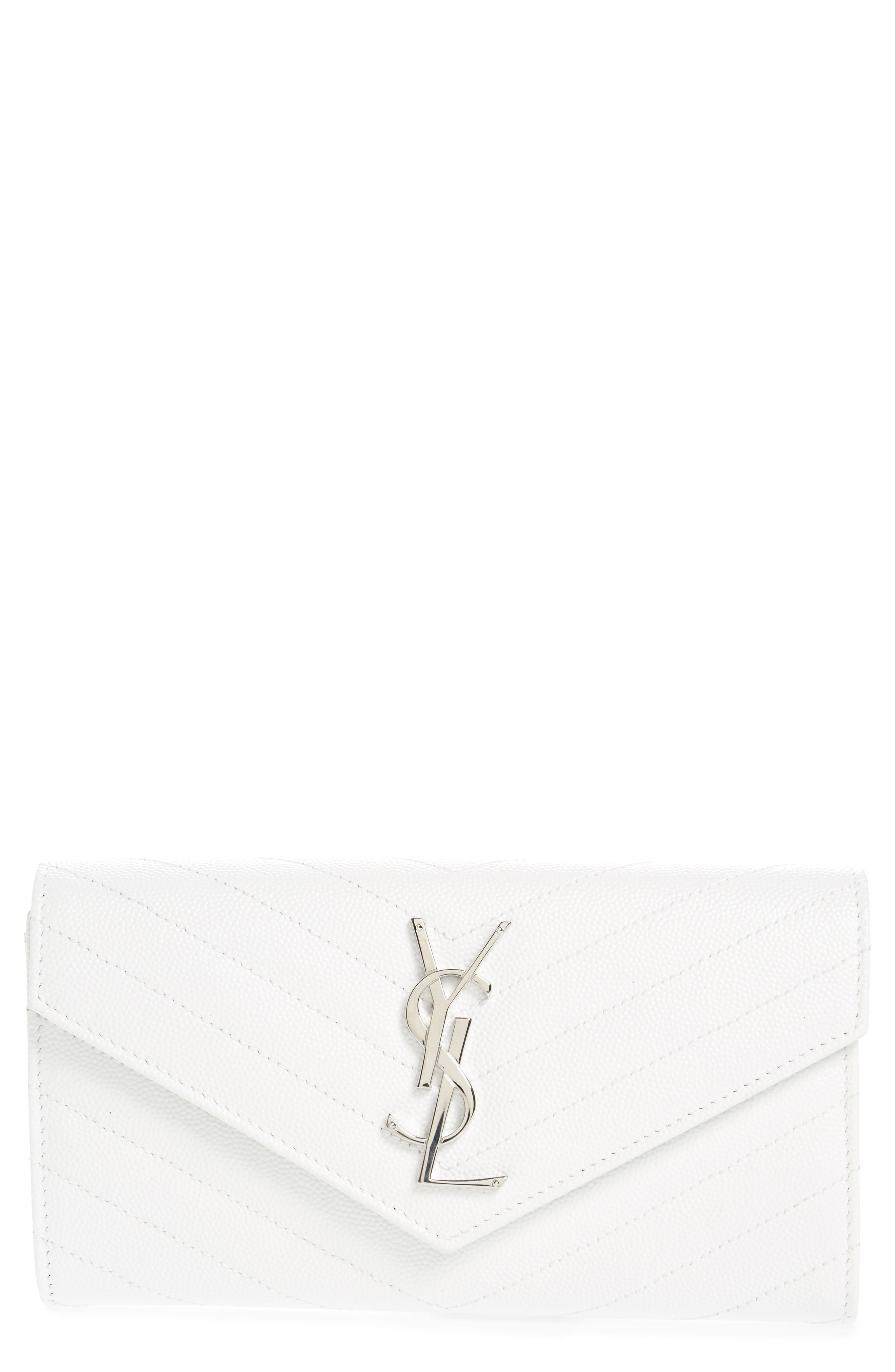 M atelassé Leather Envelope Wallet,                         Main,                         color, OPTIC WHITE