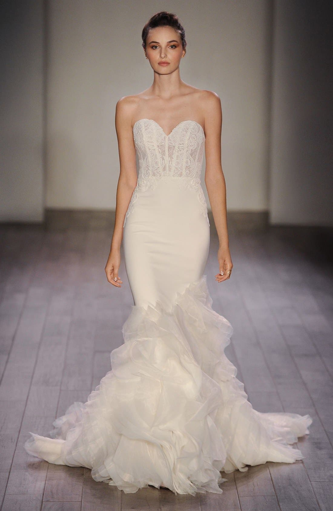 Strapless Lace, Crepe & Organza Trumpet Gown,                             Alternate thumbnail 6, color,                             IVORY