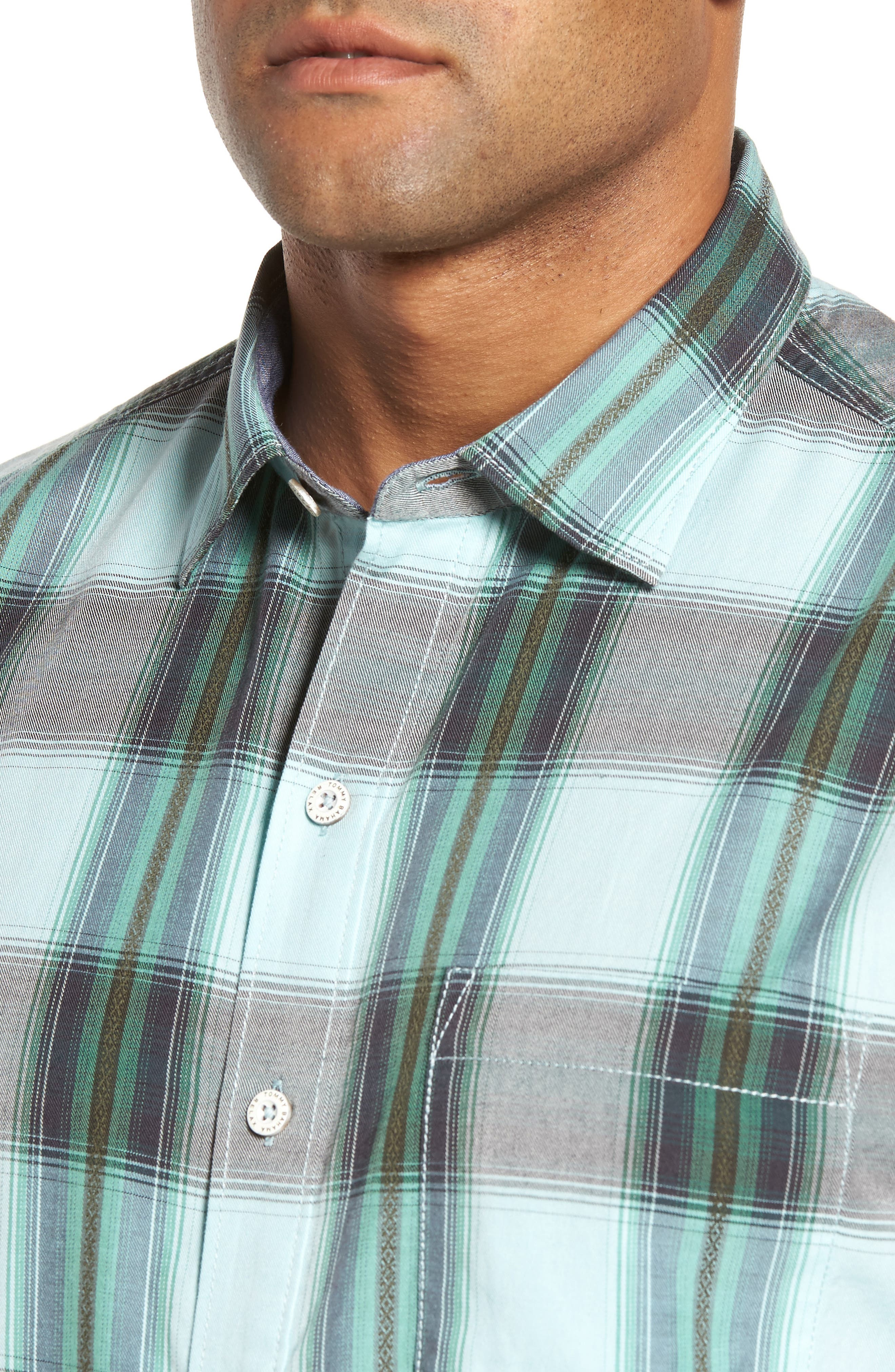 Biscayne Plaid Regular Fit Sport Shirt,                             Alternate thumbnail 4, color,                             350