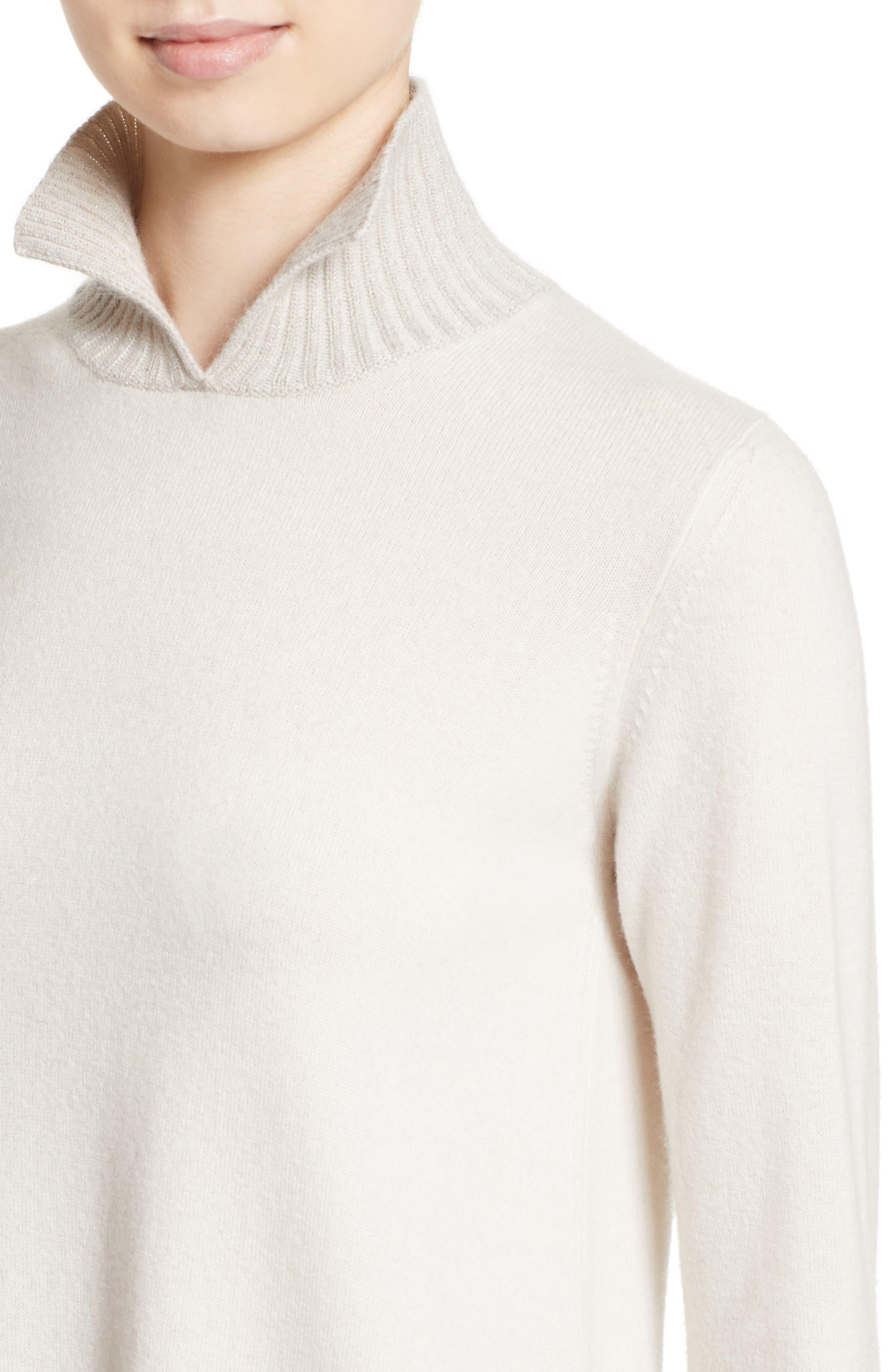 Wool, Silk & Cashmere Knit Dress,                             Alternate thumbnail 4, color,                             101