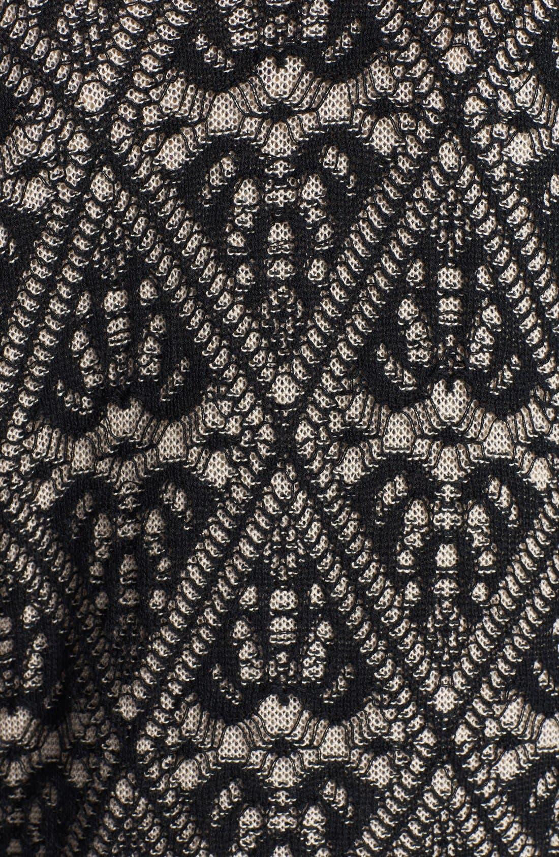Lace Pattern Long Cardigan,                             Alternate thumbnail 3, color,                             001