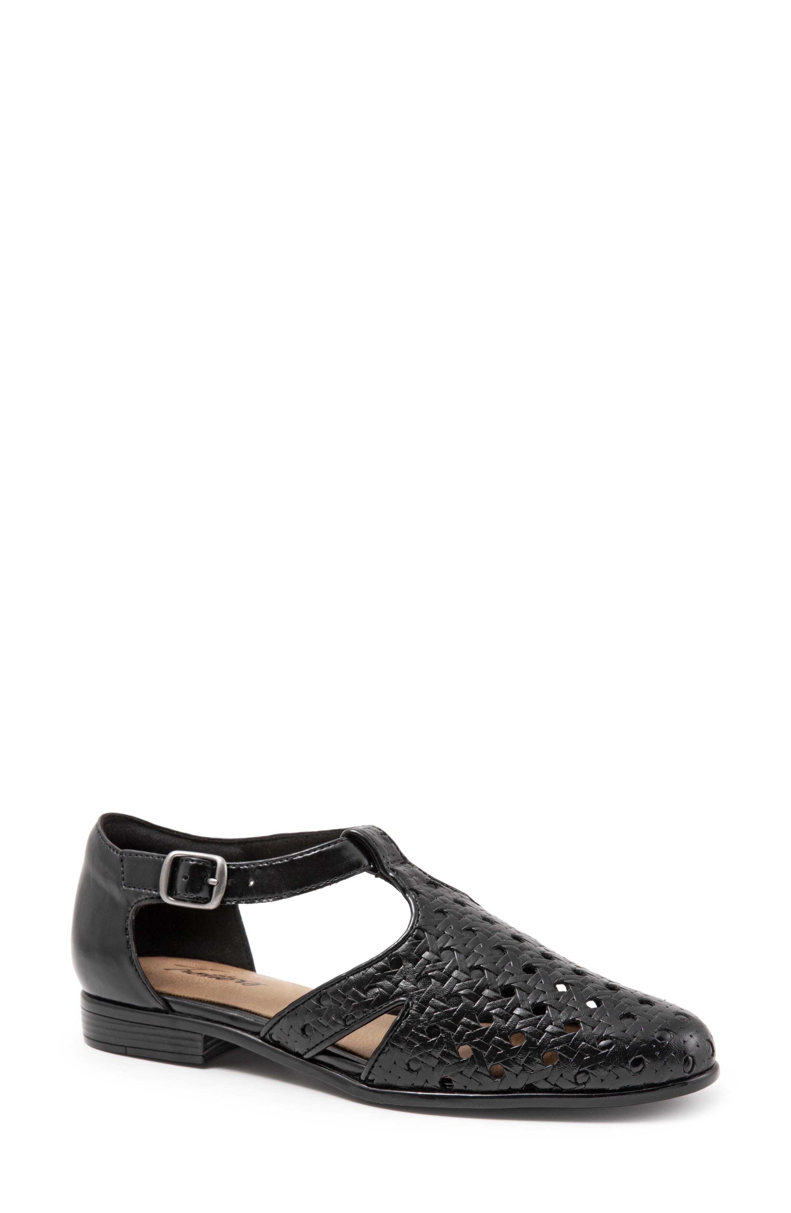 Leatha Open Weave Skimmer Flat,                             Main thumbnail 1, color,                             BLACK LEATHER