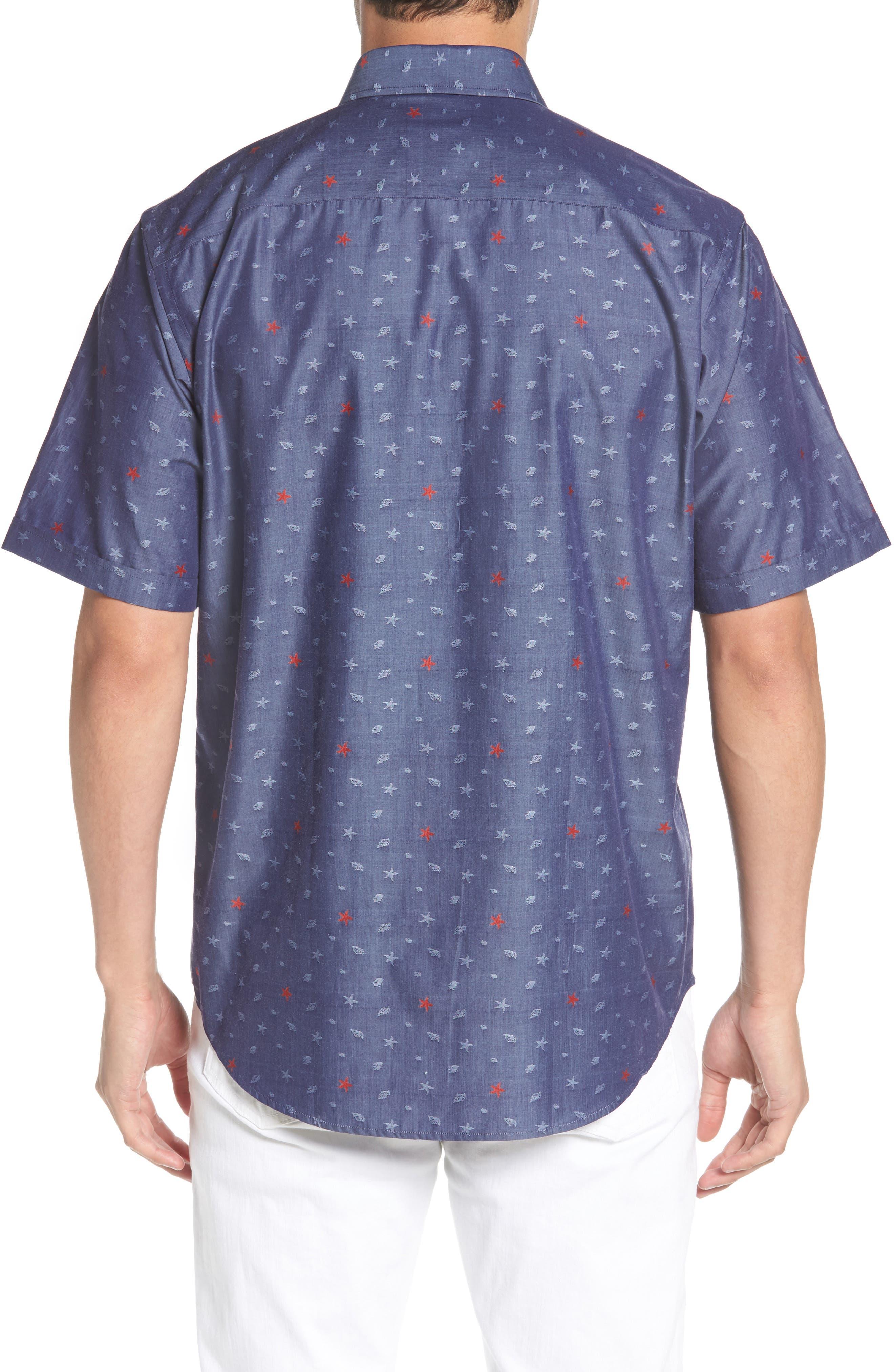Classic Fit Sea Star Print Sport Shirt,                             Alternate thumbnail 2, color,                             INDIGO