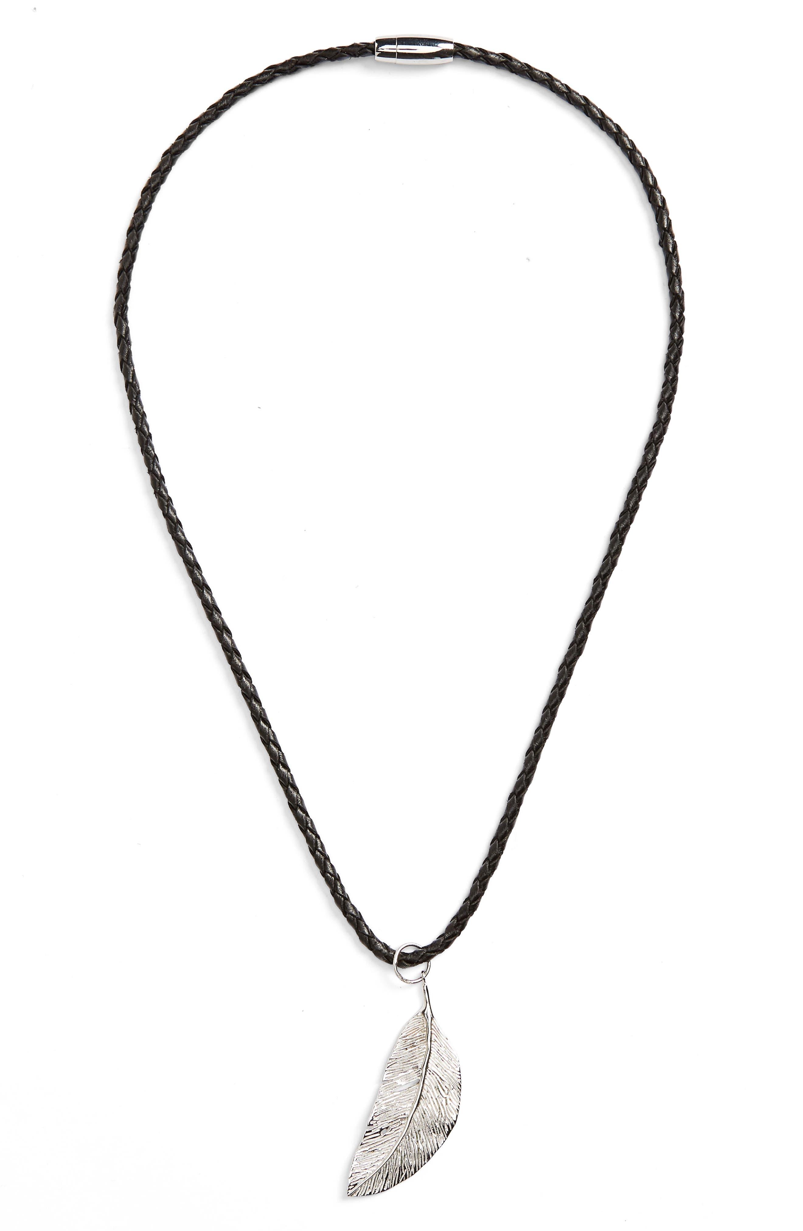Feather Pendant Necklace,                             Main thumbnail 1, color,