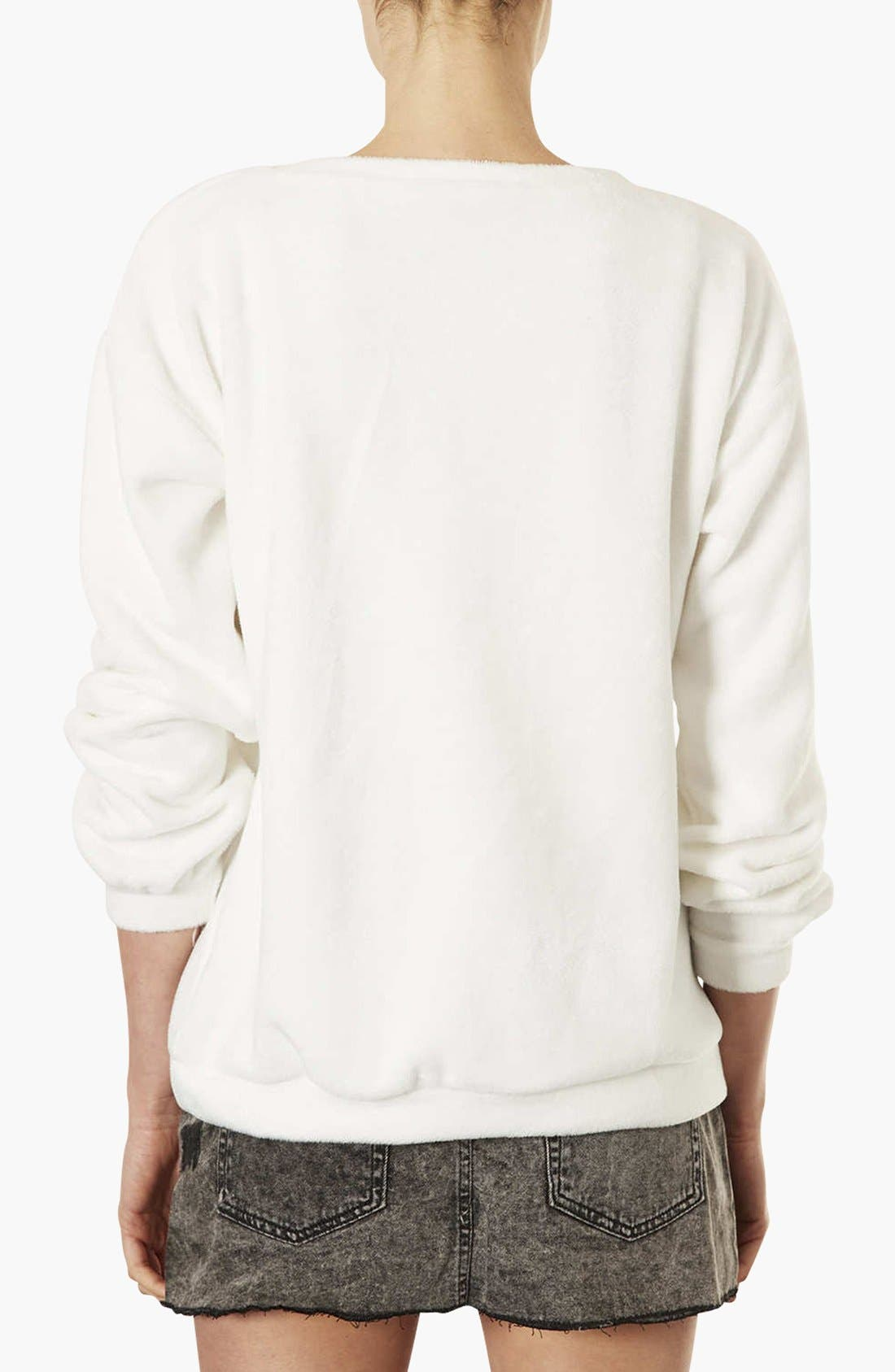 TOPSHOP,                             Teddy Bear Furry Sweatshirt,                             Alternate thumbnail 3, color,                             900
