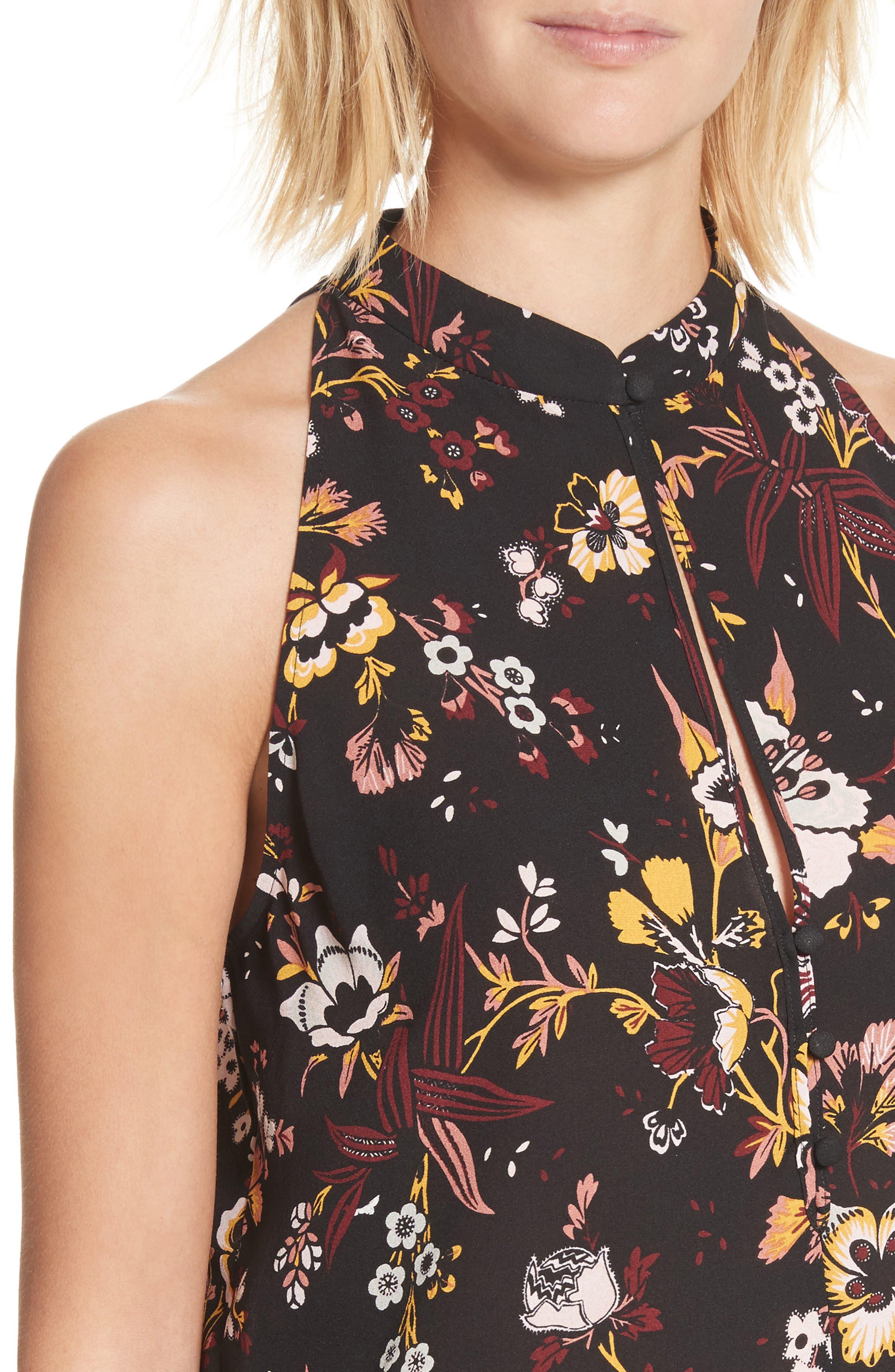 Keith Floral Print Silk Top,                             Alternate thumbnail 4, color,                             002