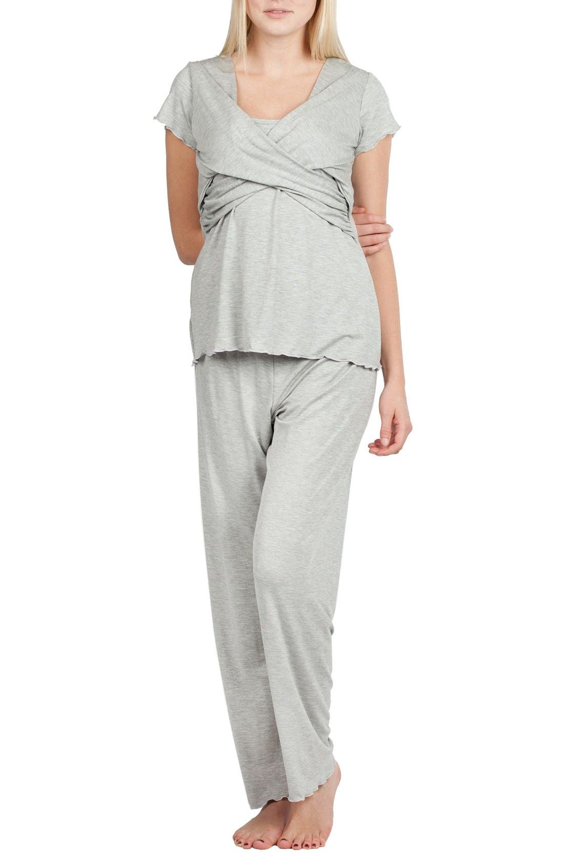 Sophia Maternity/Nursing Pajamas,                             Alternate thumbnail 8, color,                             HEATHER GREY