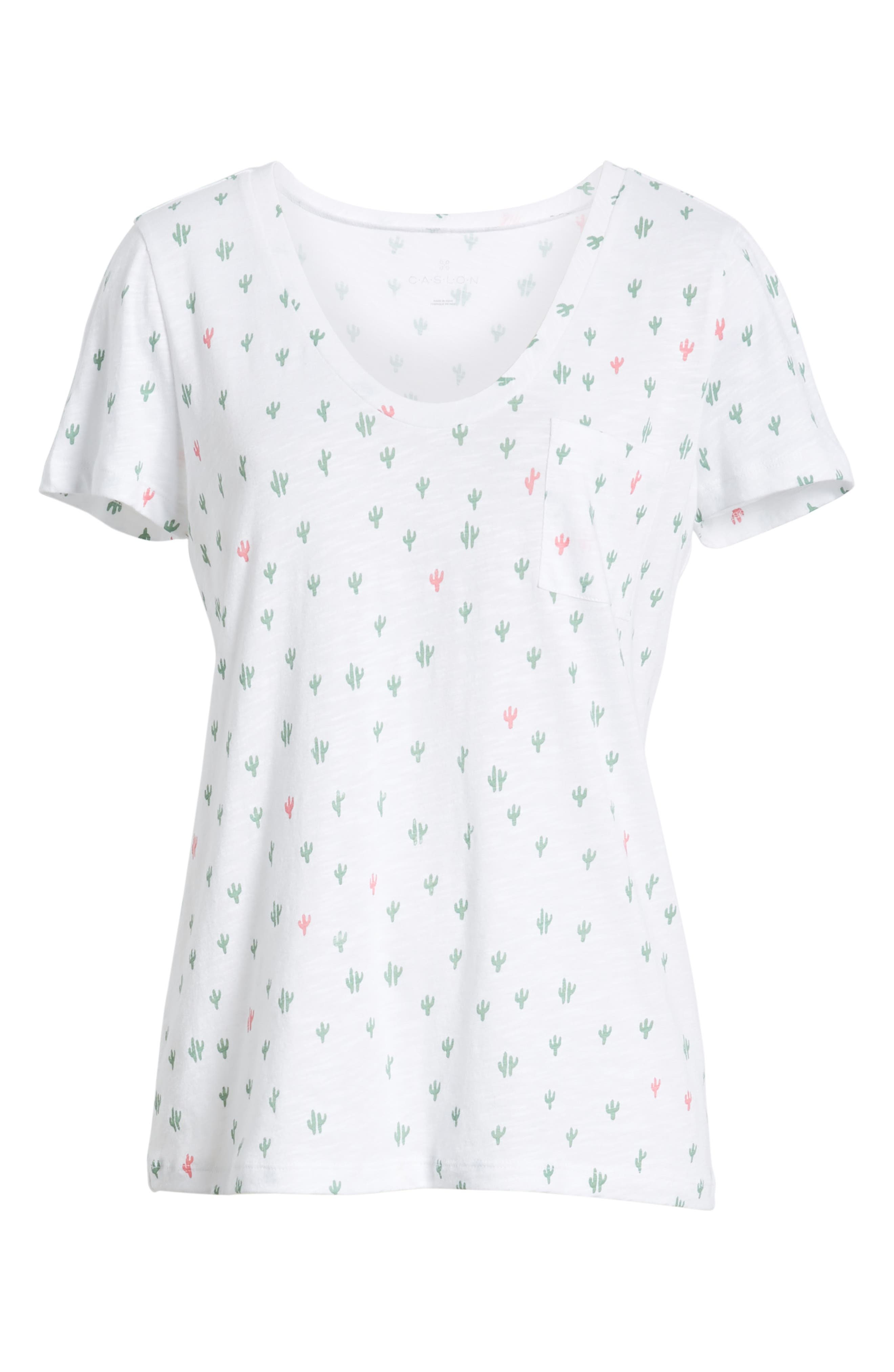 CASLON<SUP>®</SUP>,                             Rounded V-Neck Tee,                             Alternate thumbnail 7, color,                             WHITE CACTUS PRINT