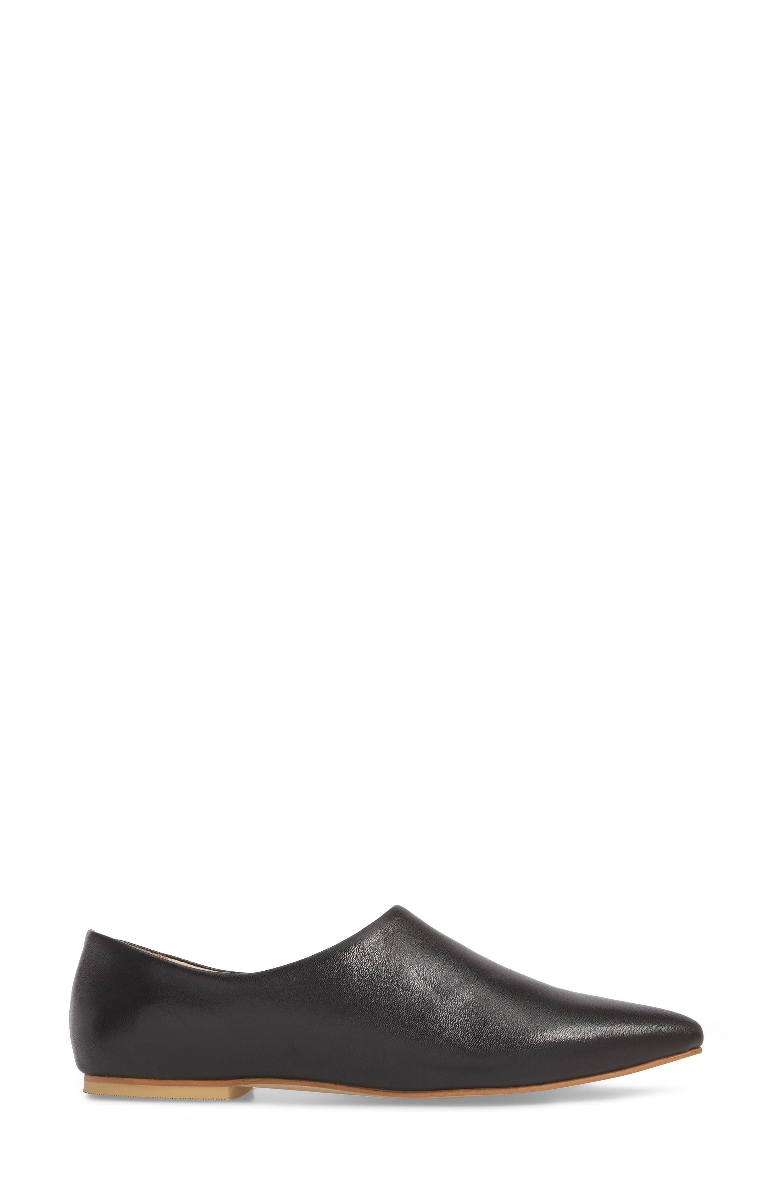 Dolce Flat,                             Alternate thumbnail 3, color,                             BLACK LEATHER