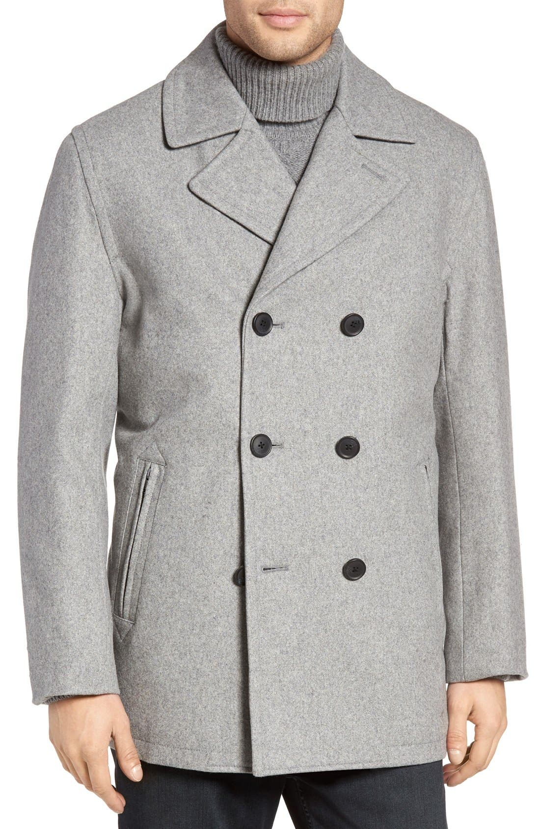 Wool Blend Double Breasted Peacoat,                             Alternate thumbnail 54, color,