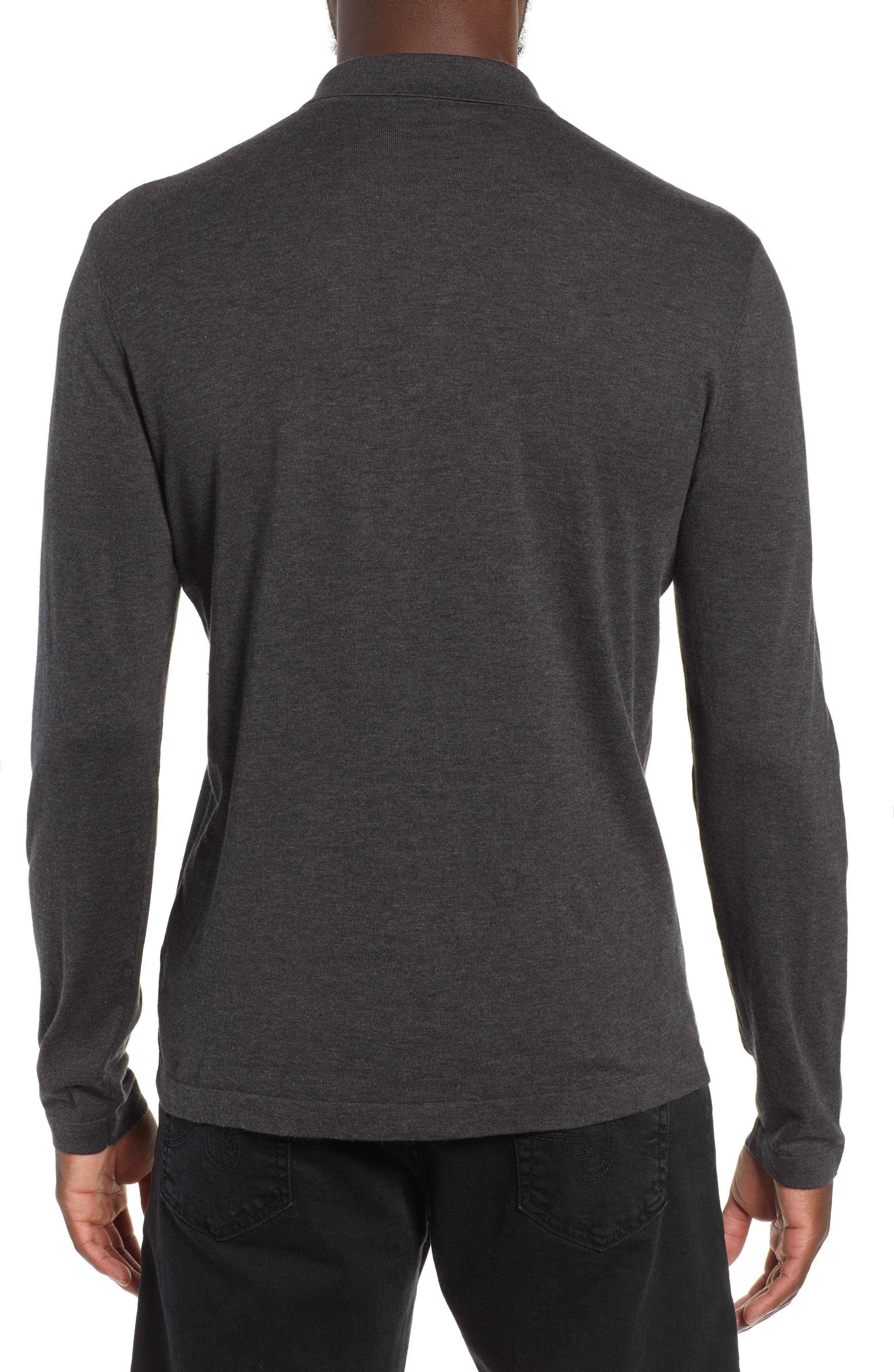 Fine Gauge Regular Fit Cotton Polo,                             Alternate thumbnail 2, color,                             HEATHER CHARCOAL