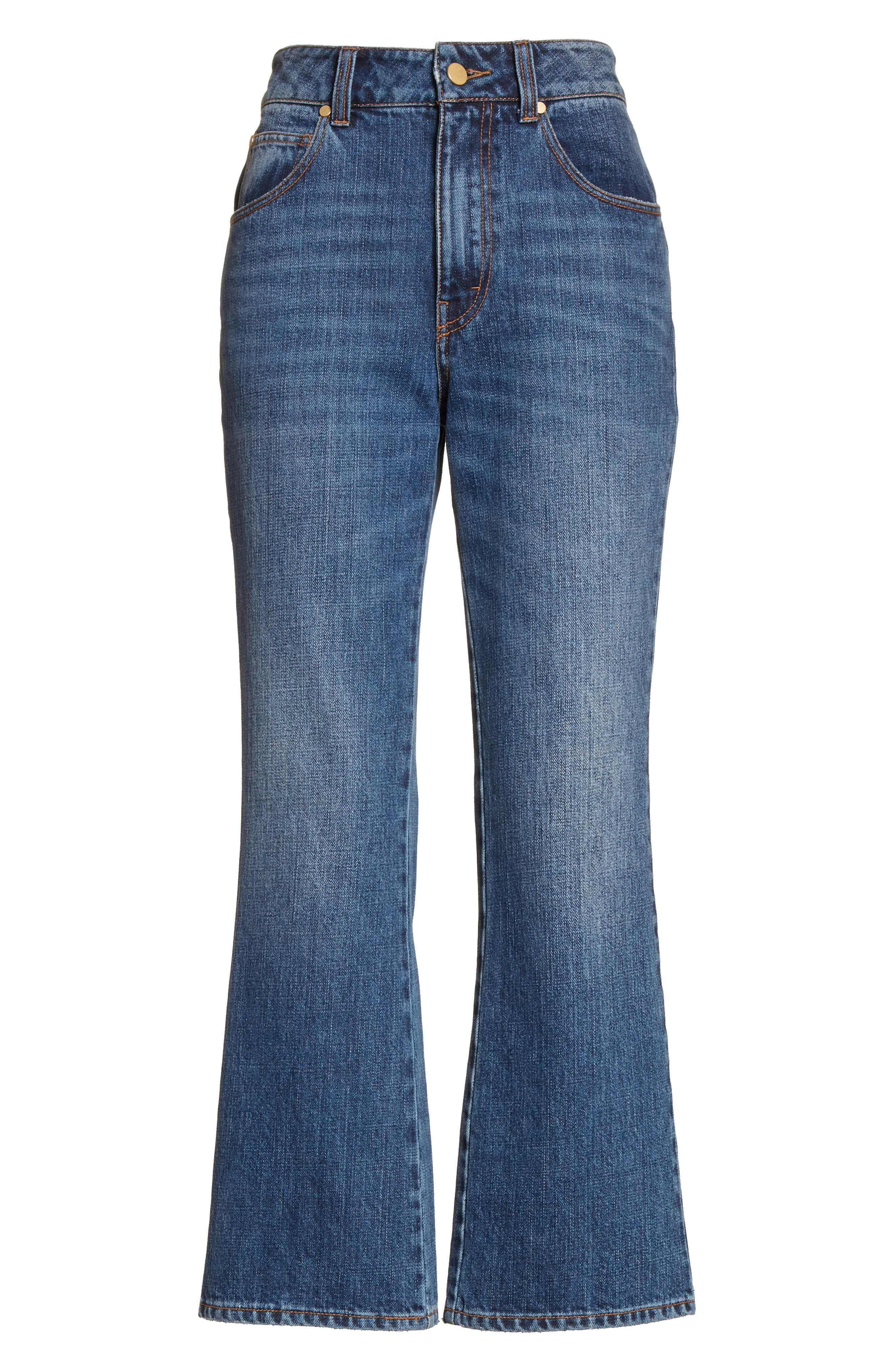 Ankle Flare High Waist Jeans,                             Alternate thumbnail 6, color,                             401