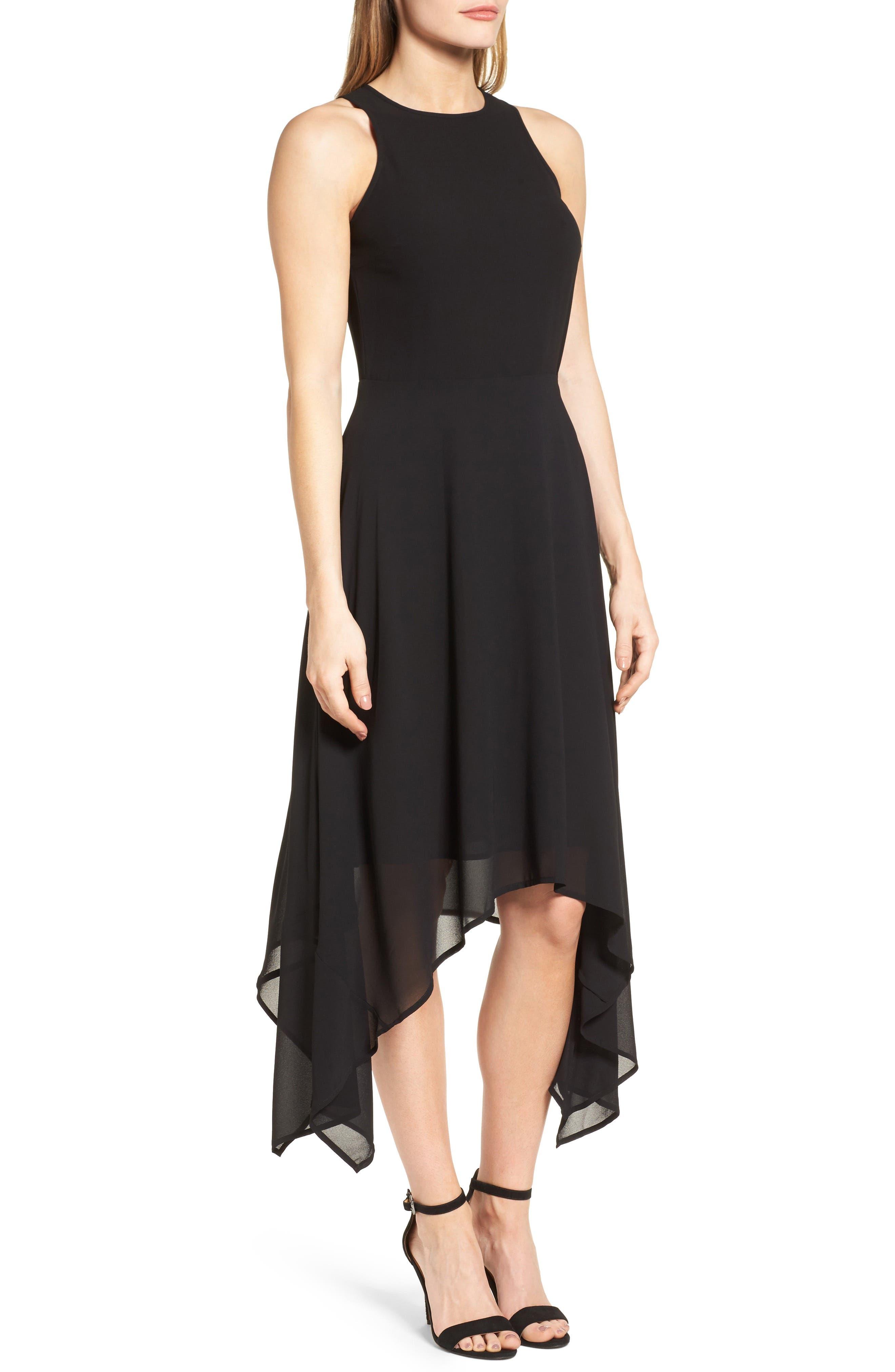 High/Low Georgette Dress,                             Alternate thumbnail 3, color,                             001