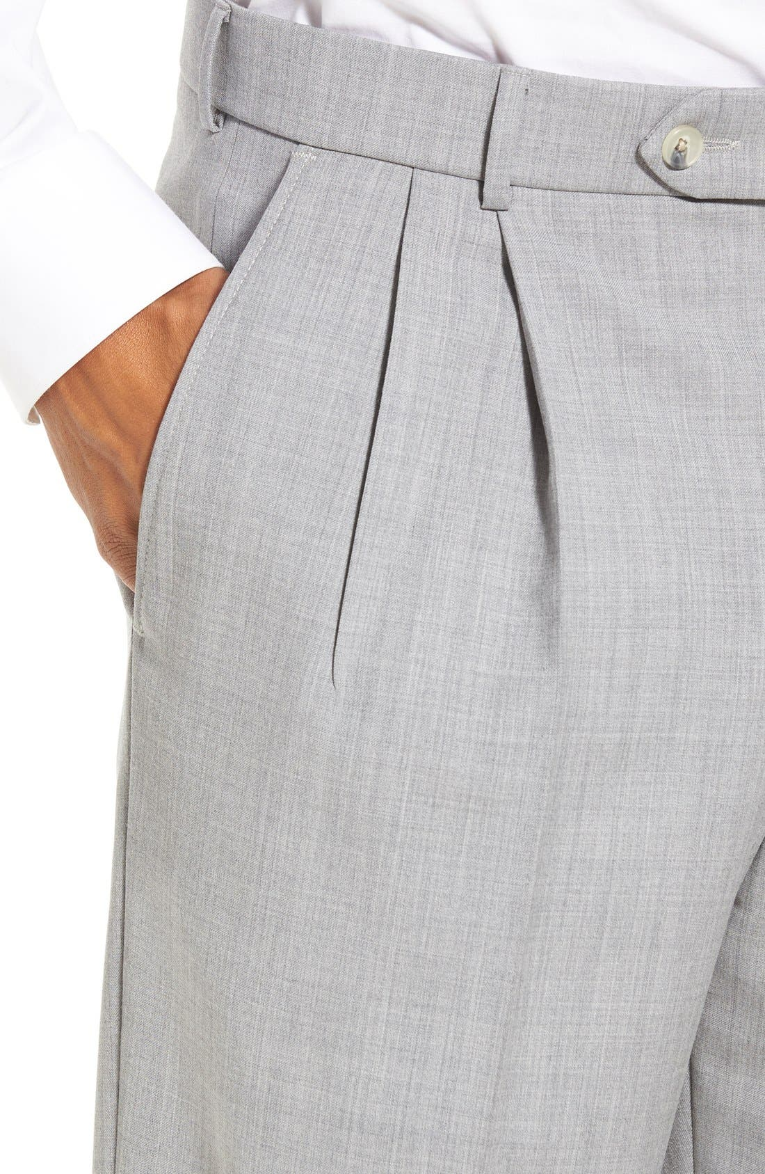 Pleated Solid Wool Trousers,                             Alternate thumbnail 44, color,