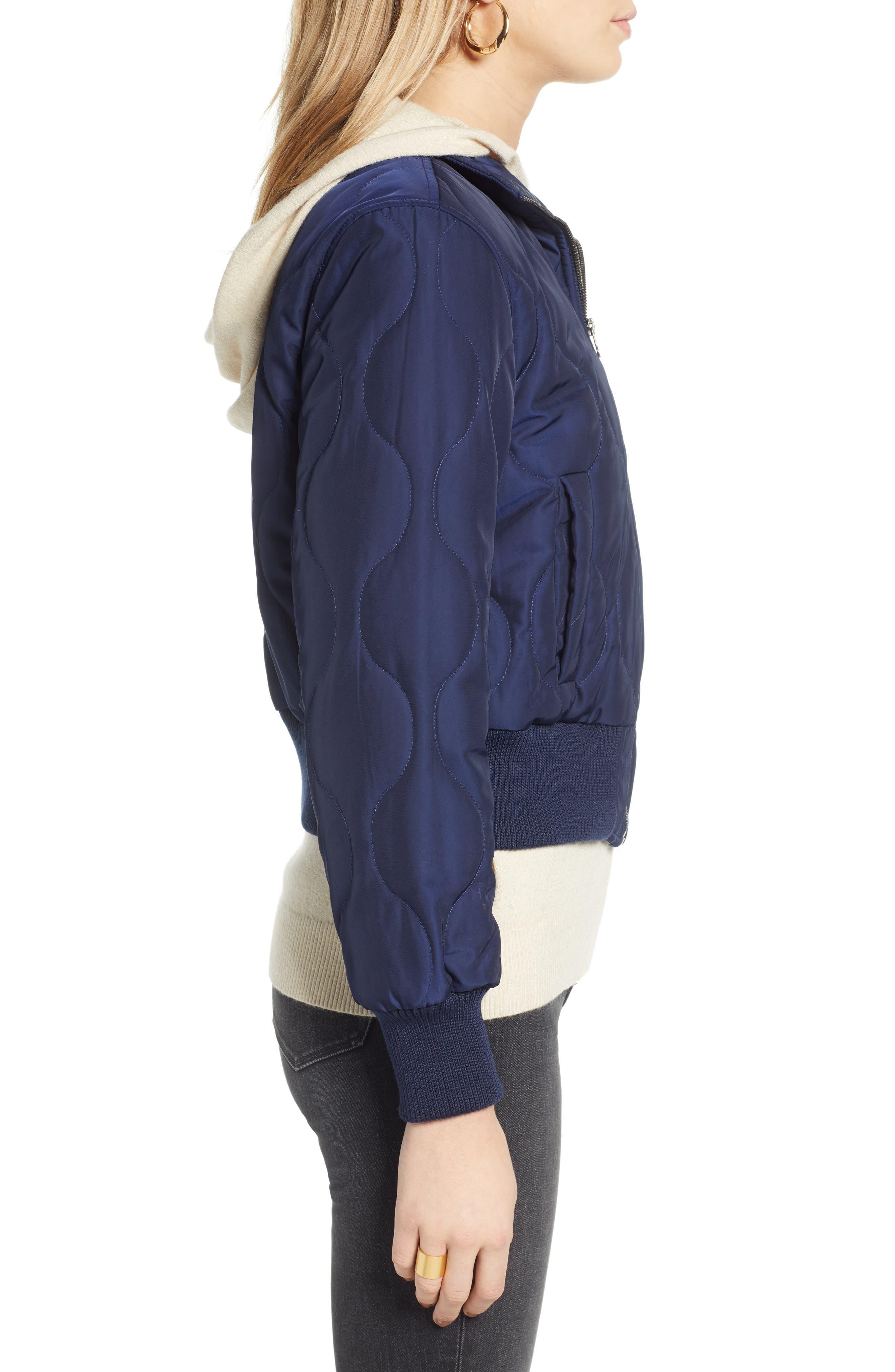 Satin Crop Puffer Jacket,                             Alternate thumbnail 3, color,                             NAVY MARITIME