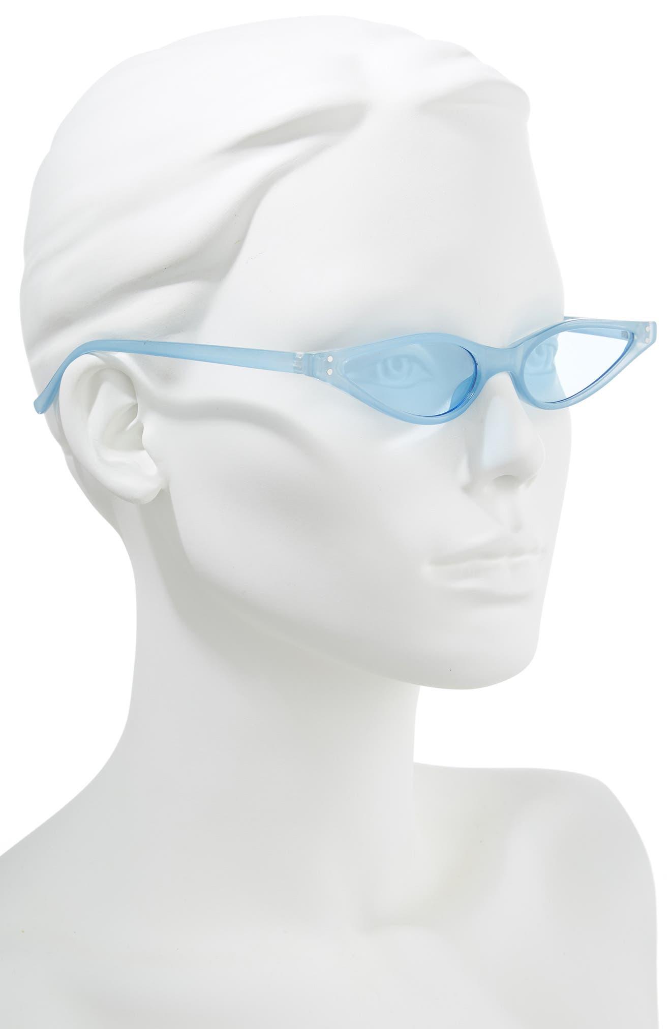 Exaggerated 54mm Mini Cat Eye Sunglasses,                             Alternate thumbnail 2, color,                             BLUE
