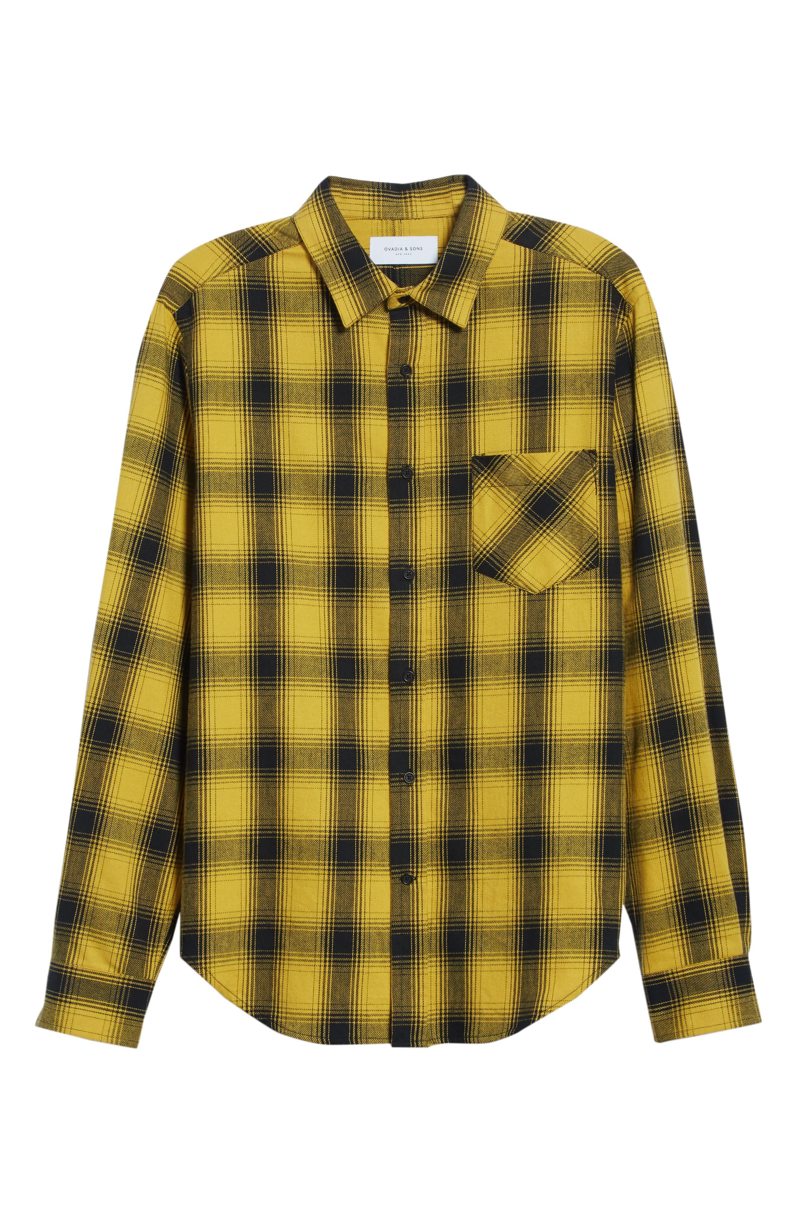 Max Plaid Flannel Shirt,                             Alternate thumbnail 6, color,                             GOLD PLAID