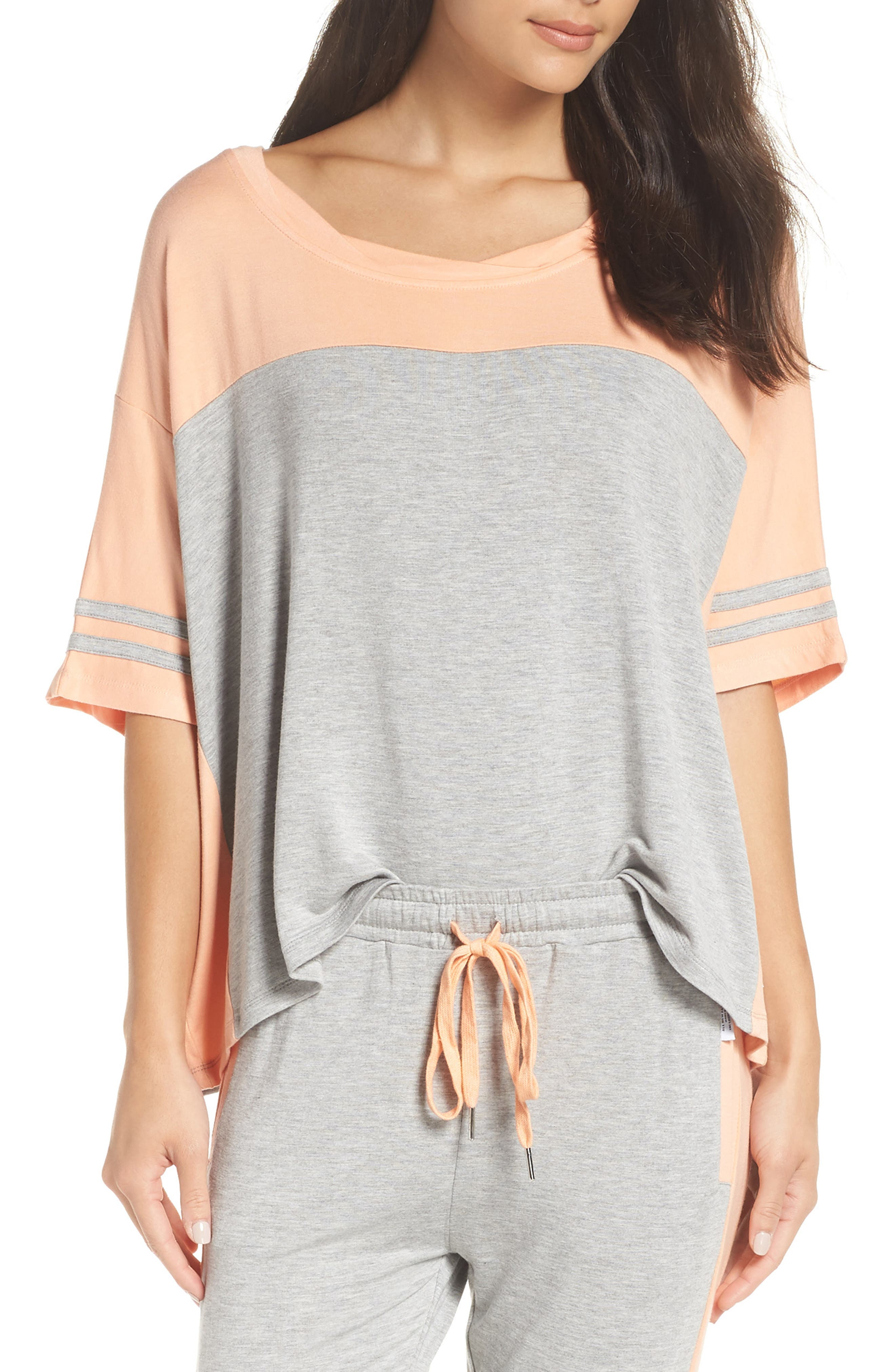 Baggy Team Tee,                         Main,                         color, HEATHER / PEACH