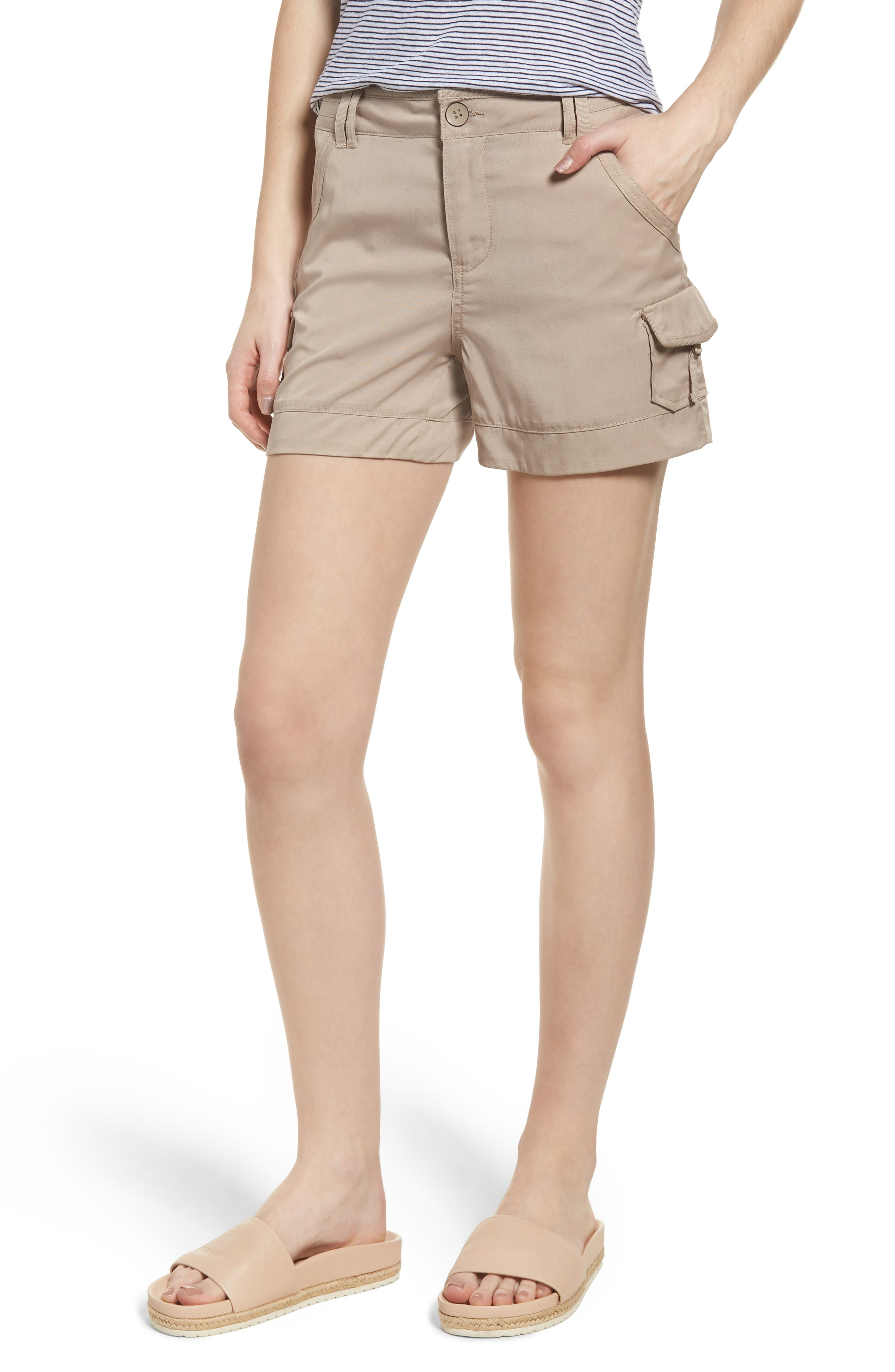 High Rise Tencel Shorts,                             Main thumbnail 3, color,