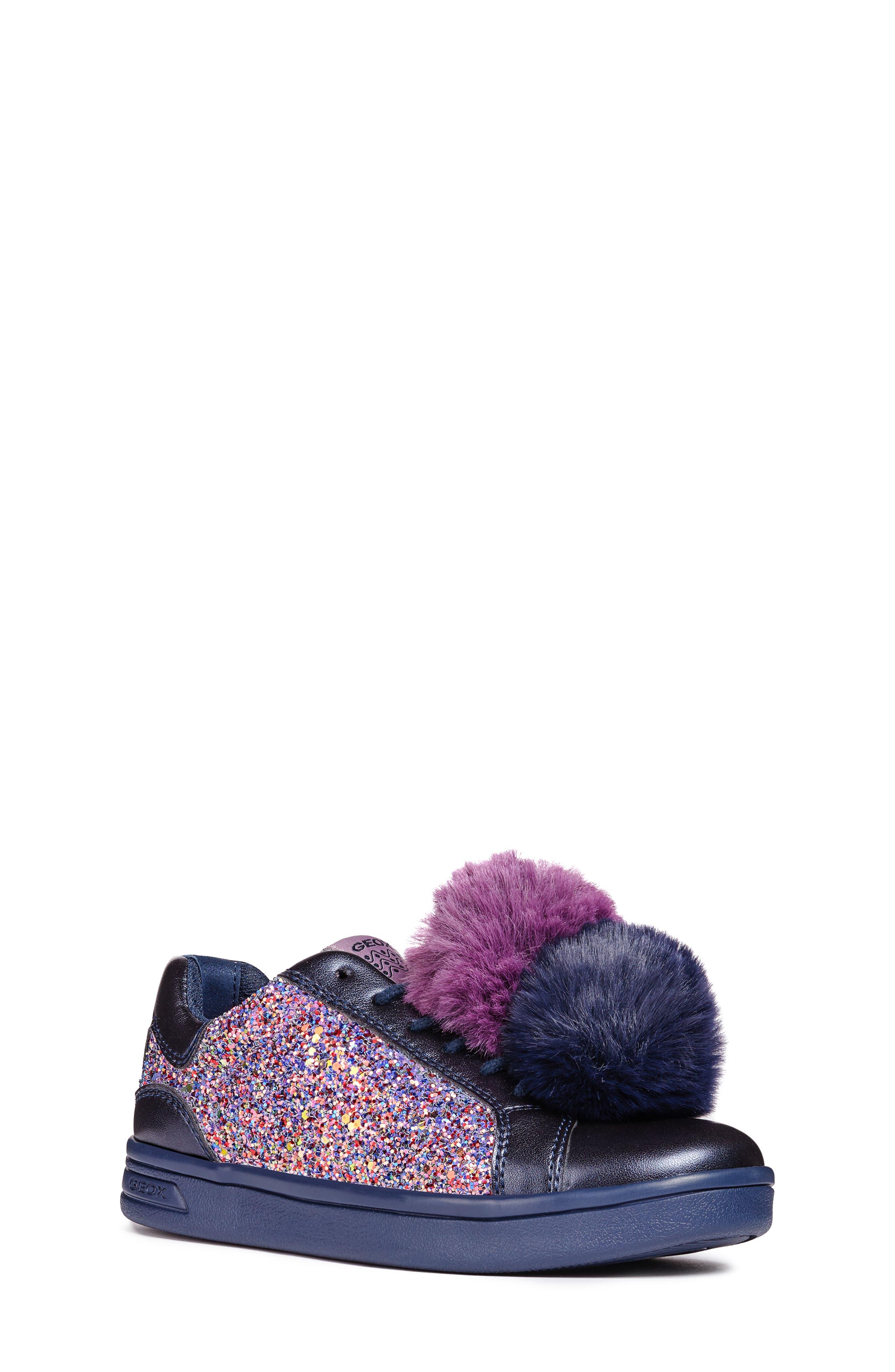 DJ Rock Glitter Pompom Sneaker,                             Main thumbnail 1, color,                             NAVY/LT PRUNE