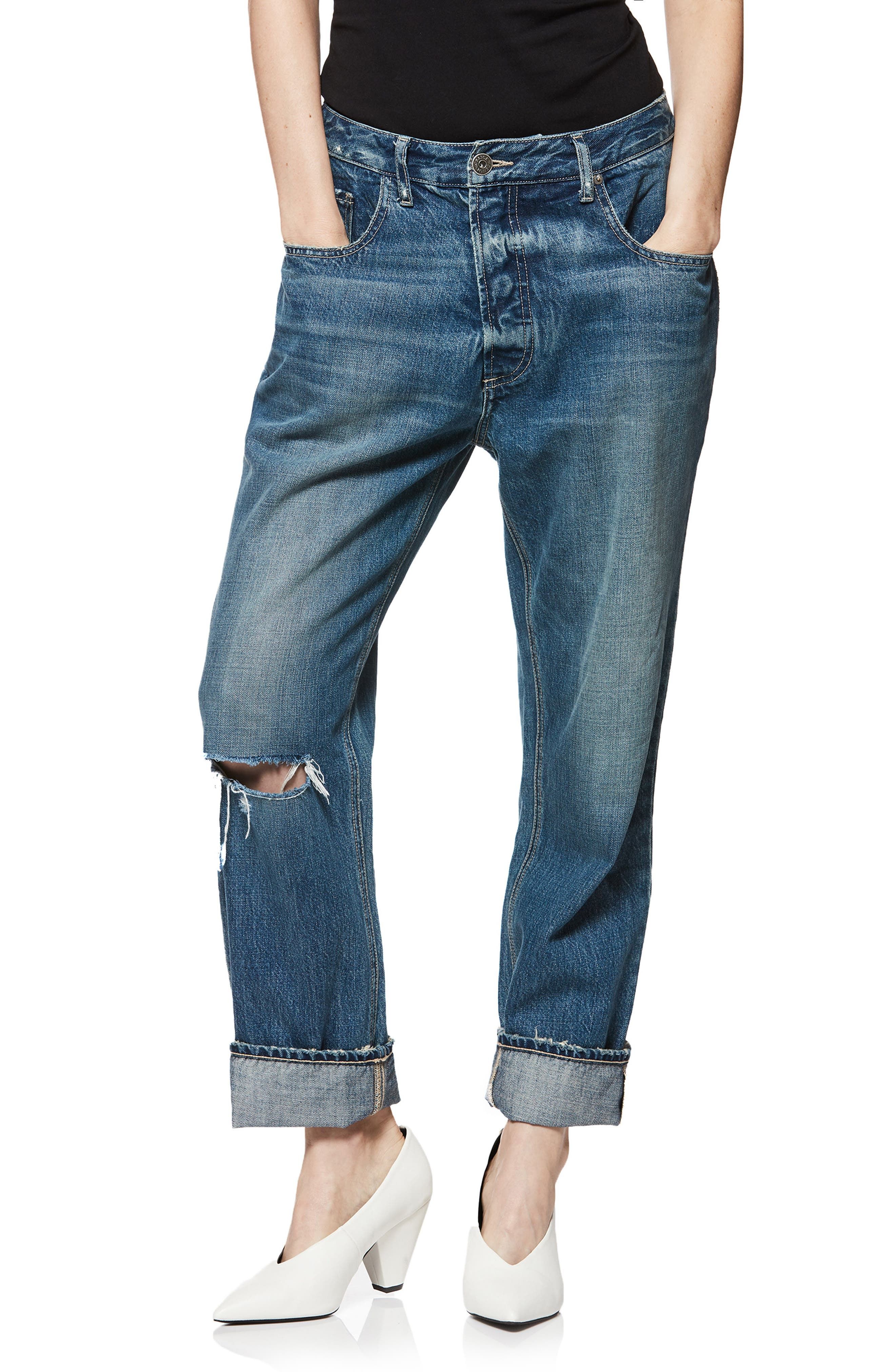 Mikey Mike Ripped Boyfriend Jeans,                             Main thumbnail 1, color,                             400