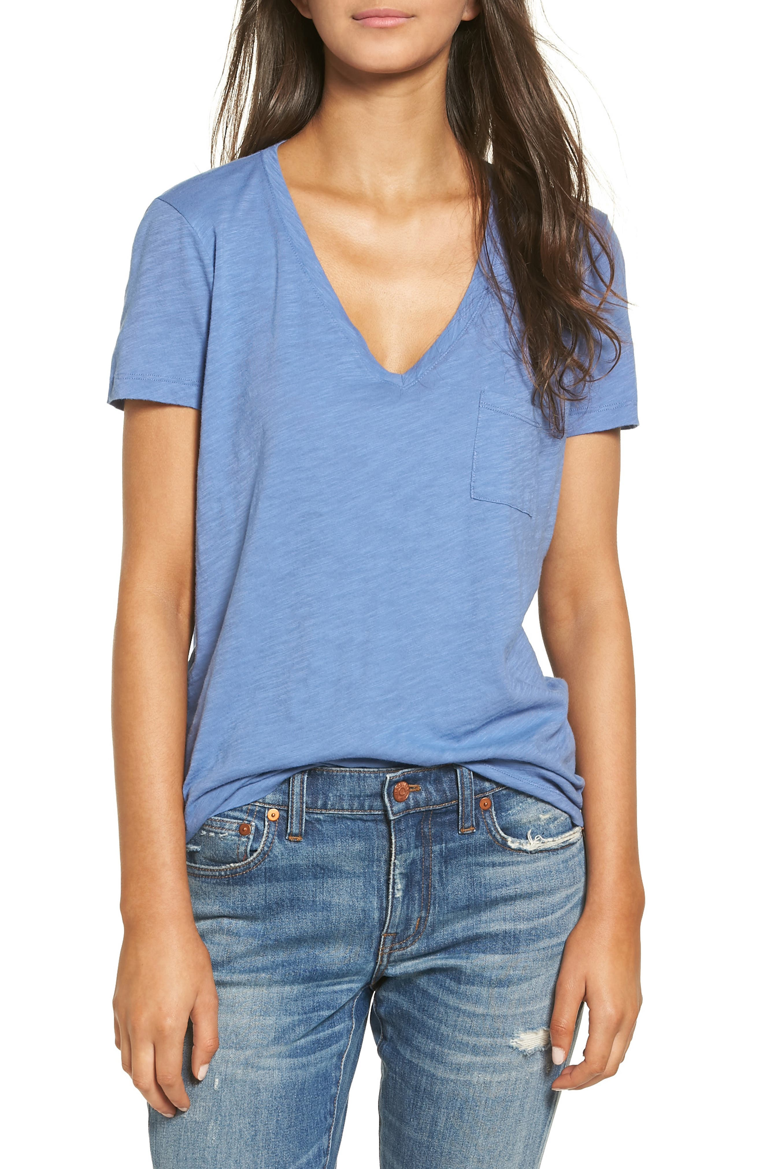 Whisper Cotton V-Neck Pocket Tee,                             Main thumbnail 24, color,
