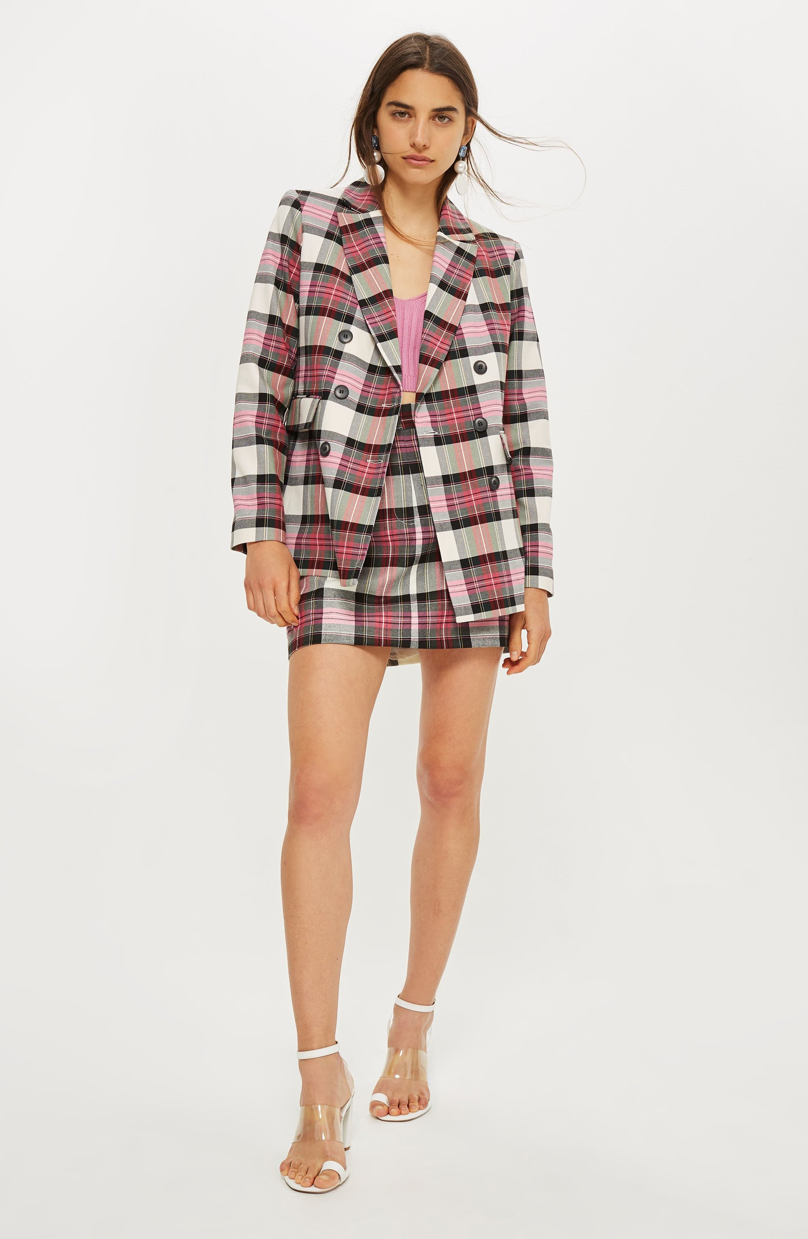 Tartan Double Breasted Jacket,                             Alternate thumbnail 4, color,                             PINK MULTI