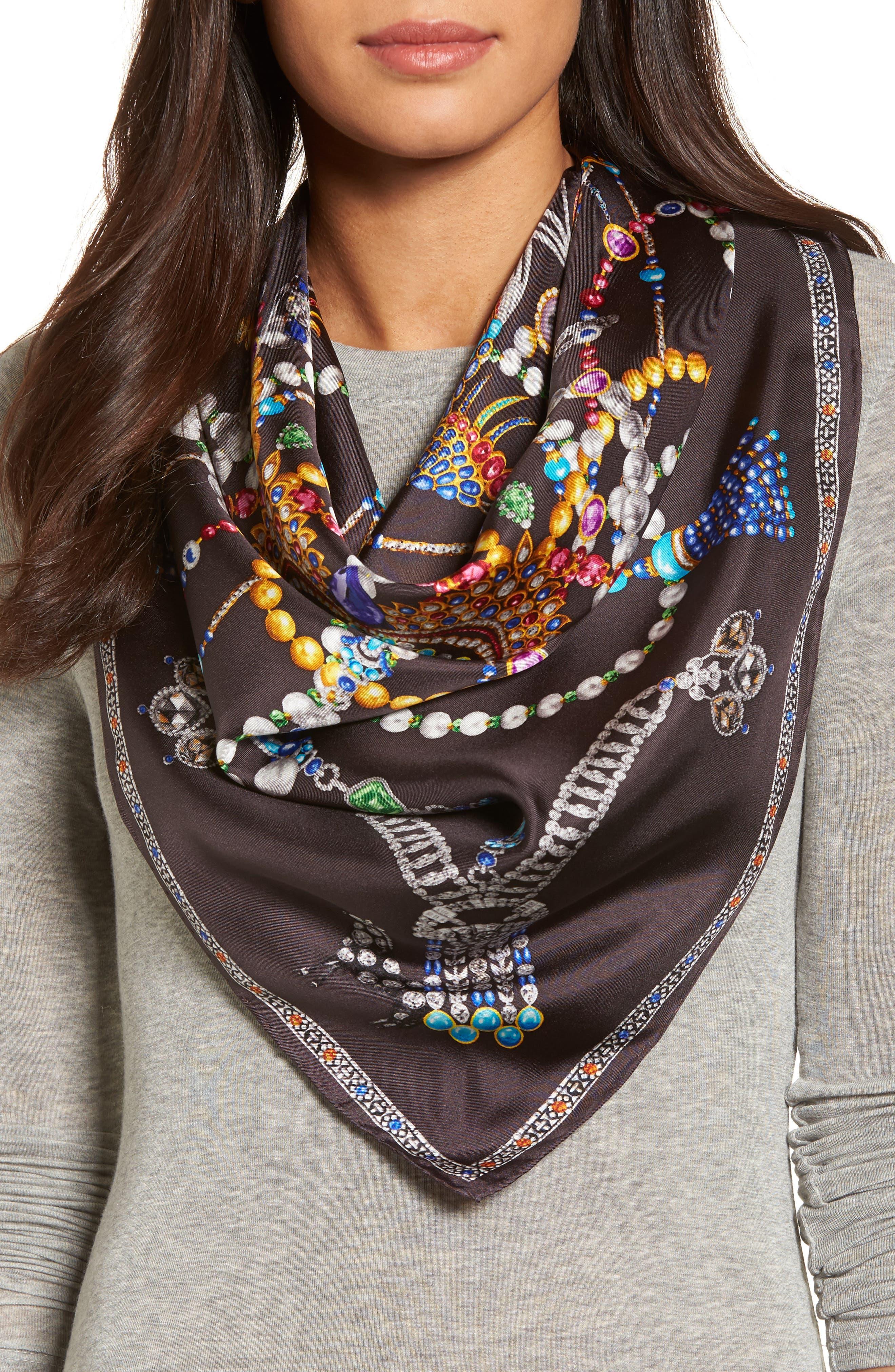 Heirloom Series Print Silk Scarf,                         Main,                         color, 020