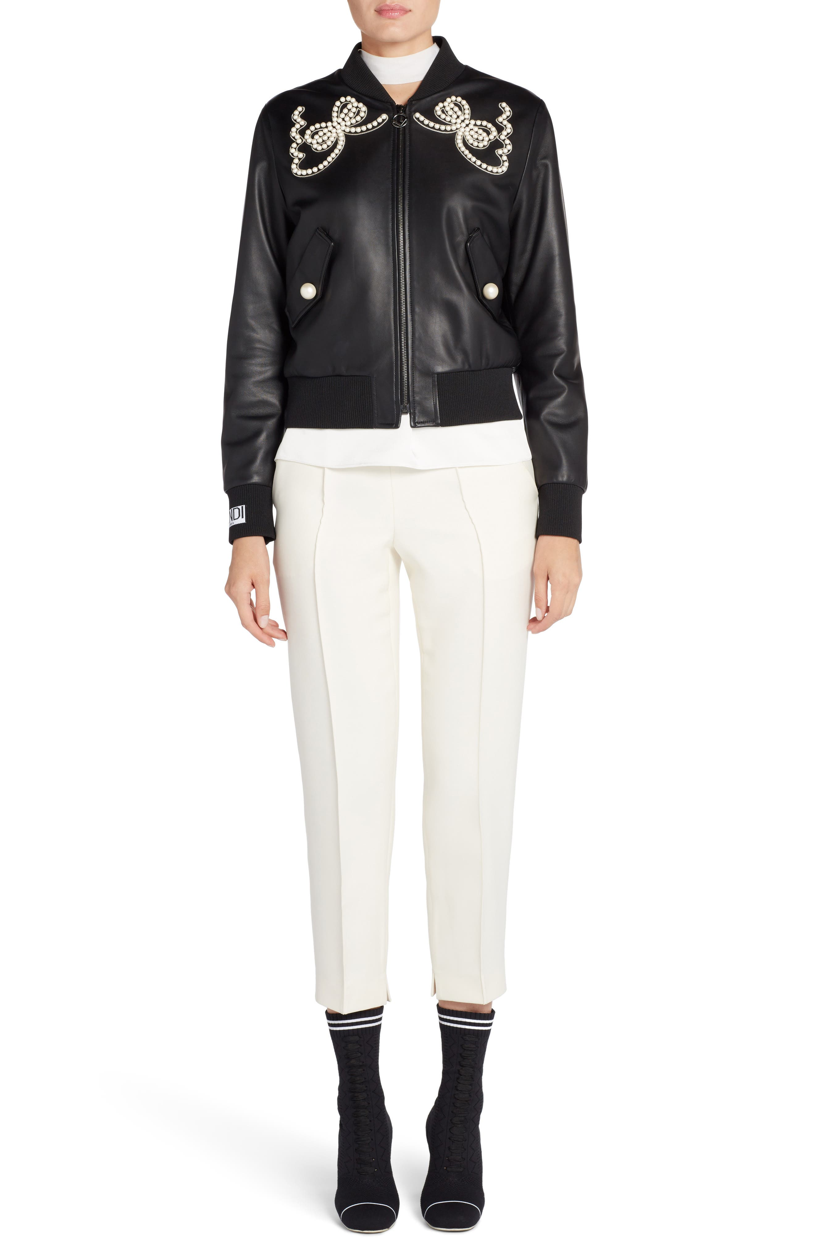 Embellished Bow Leather Bomber,                             Alternate thumbnail 6, color,                             001