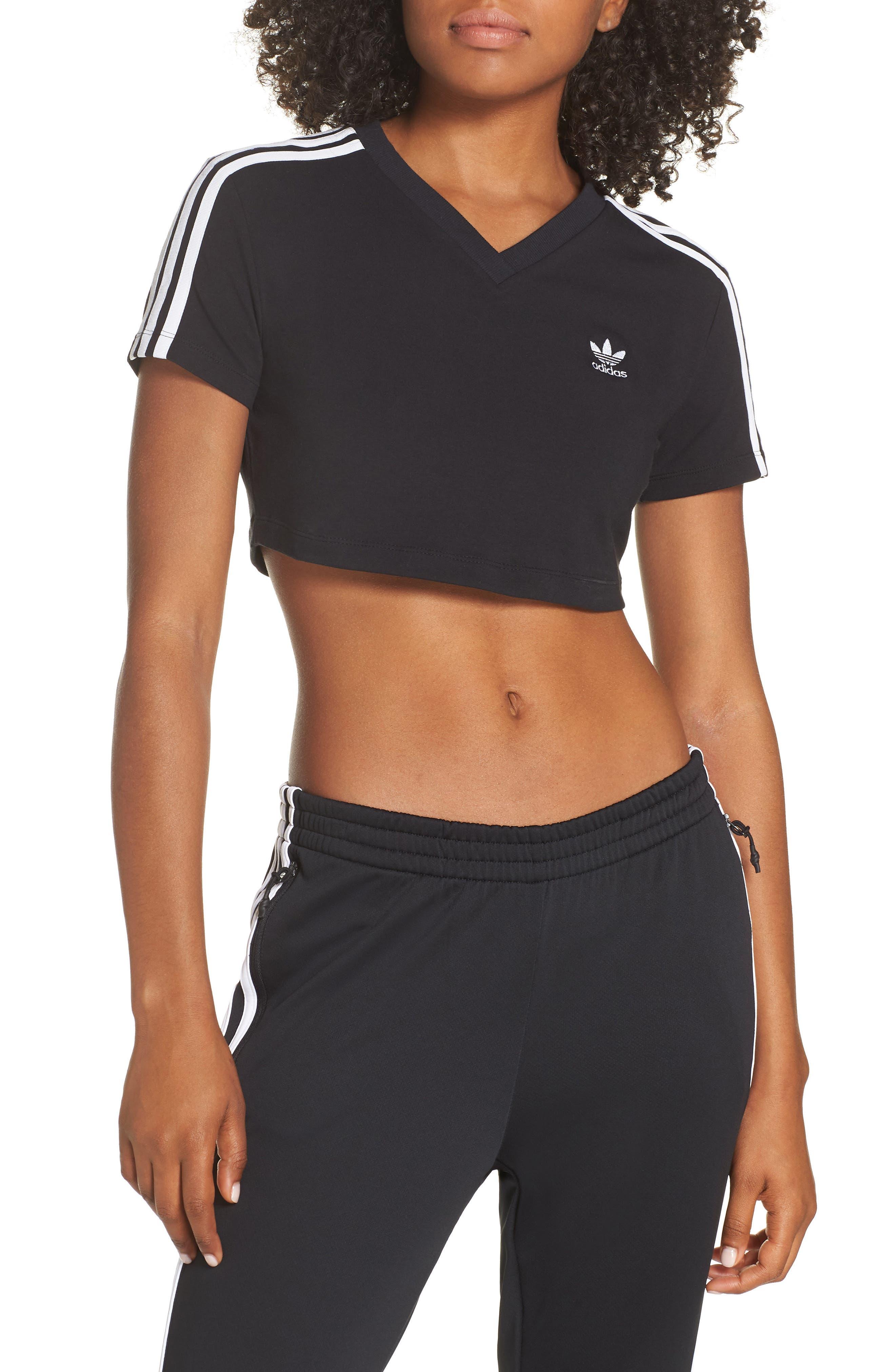 Adidas Crop Logo Tee, Black