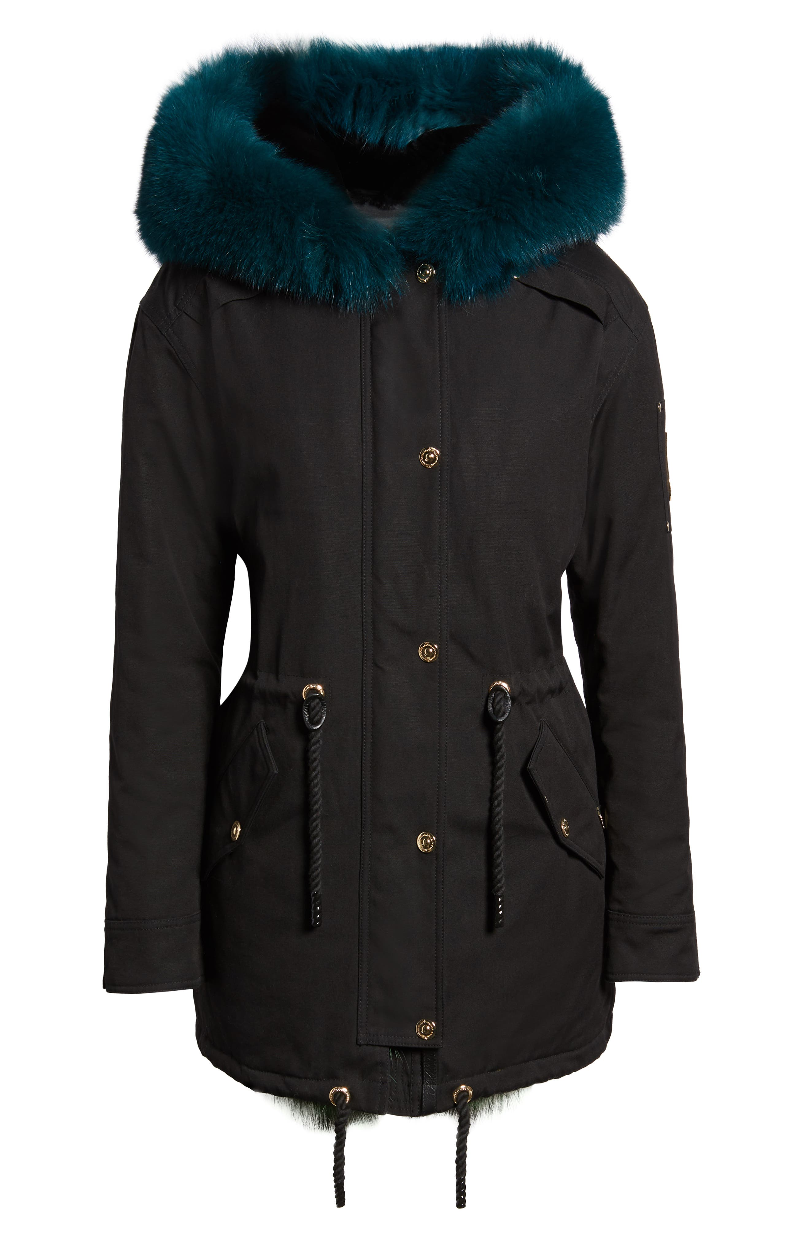 Foxy Stellar Parka with Genuine Rabbit Fur & Genuine Fox Fur,                             Alternate thumbnail 5, color,                             BLACK/ TEAL/ SKY BLUE/ GREEN