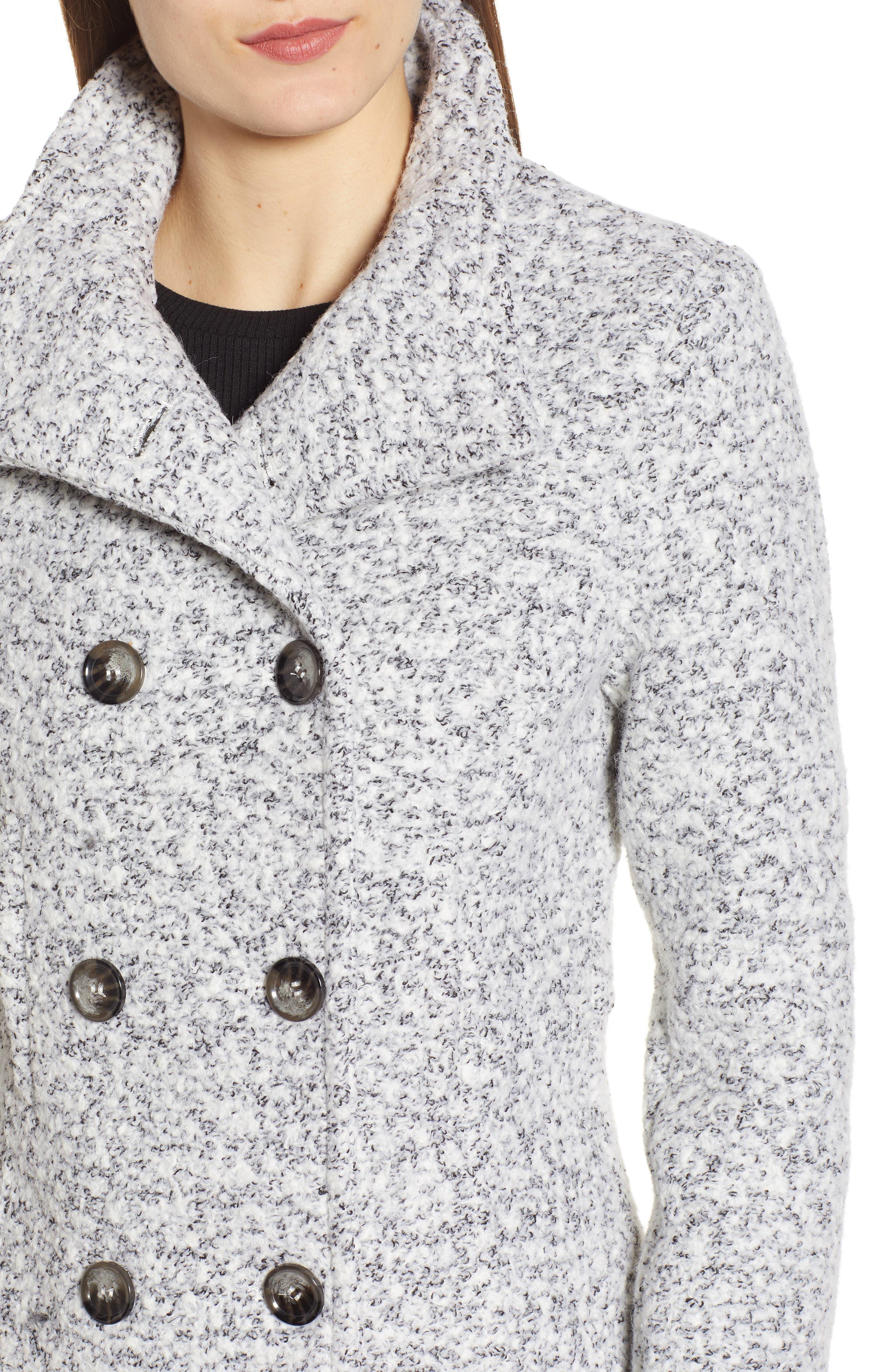 Oxford Double Breasted Coat,                             Alternate thumbnail 4, color,                             SALT/ PEPPER