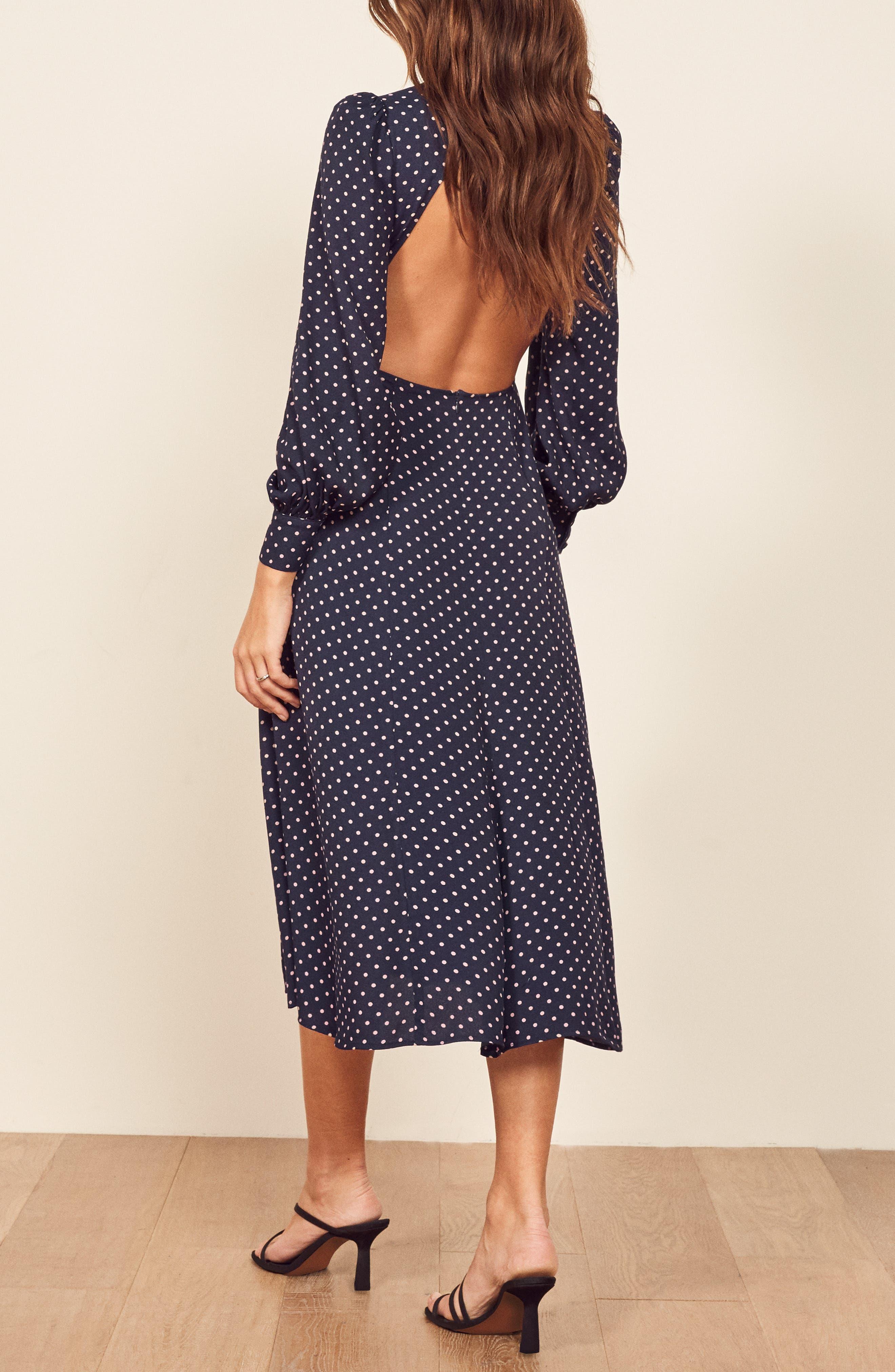 REFORMATION Abigaile Long Sleeve Dress, Alternate, color, AFTERNOON