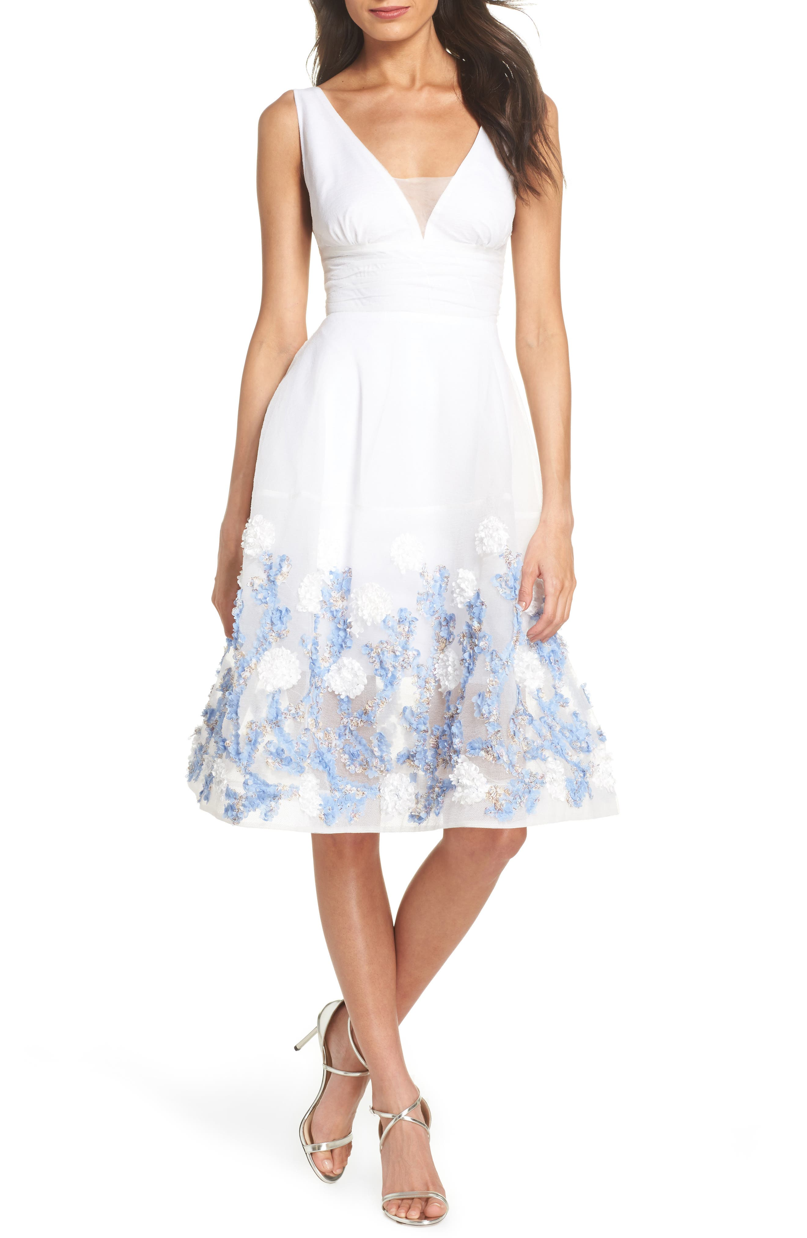 Malvina Embroidered Hem Fit & Flare Dress,                         Main,                         color, WHITE/ BLUE