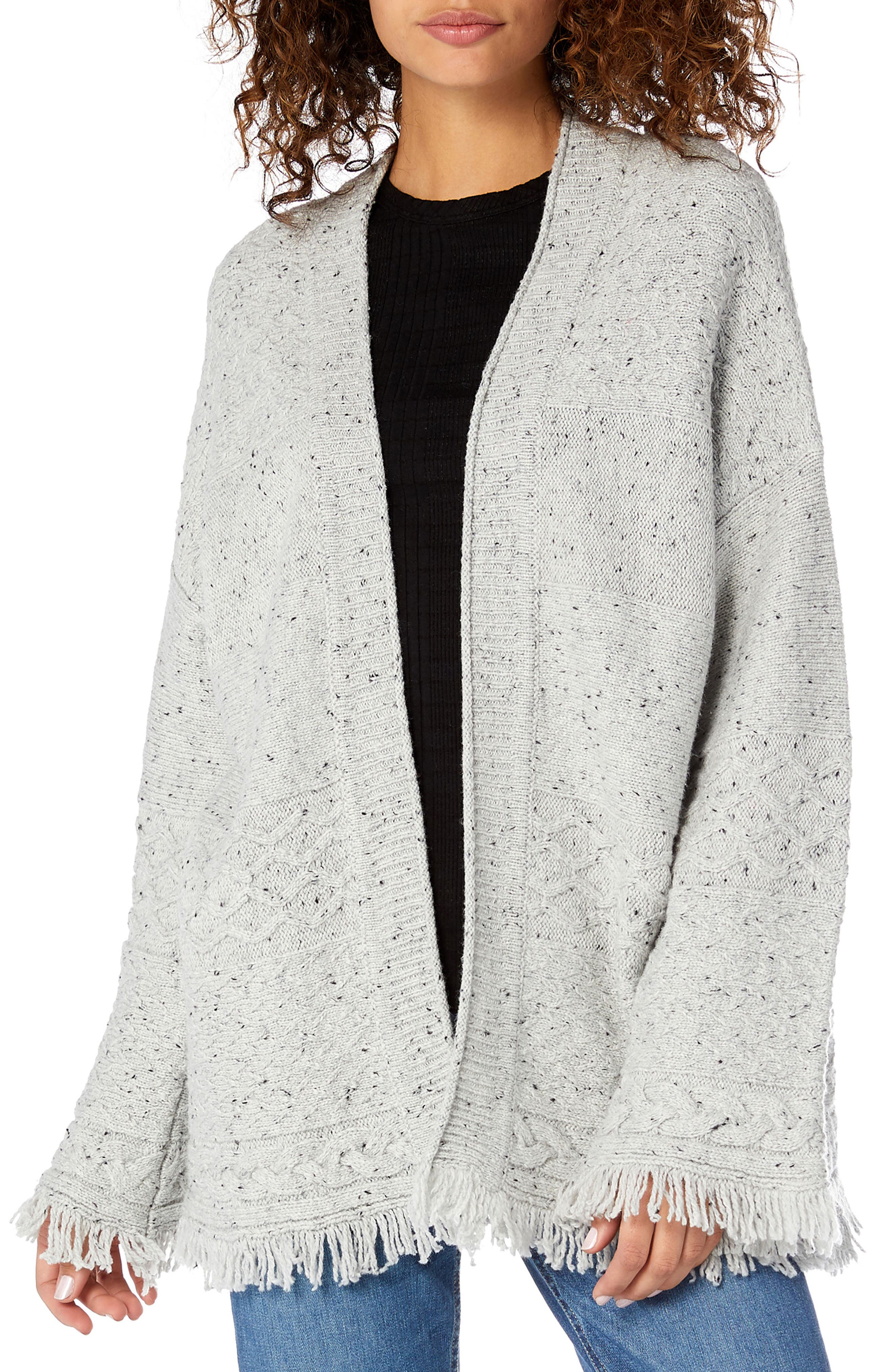 MICHAEL STARS Confetti Cable Bell Sleeve Cardigan in Crescent