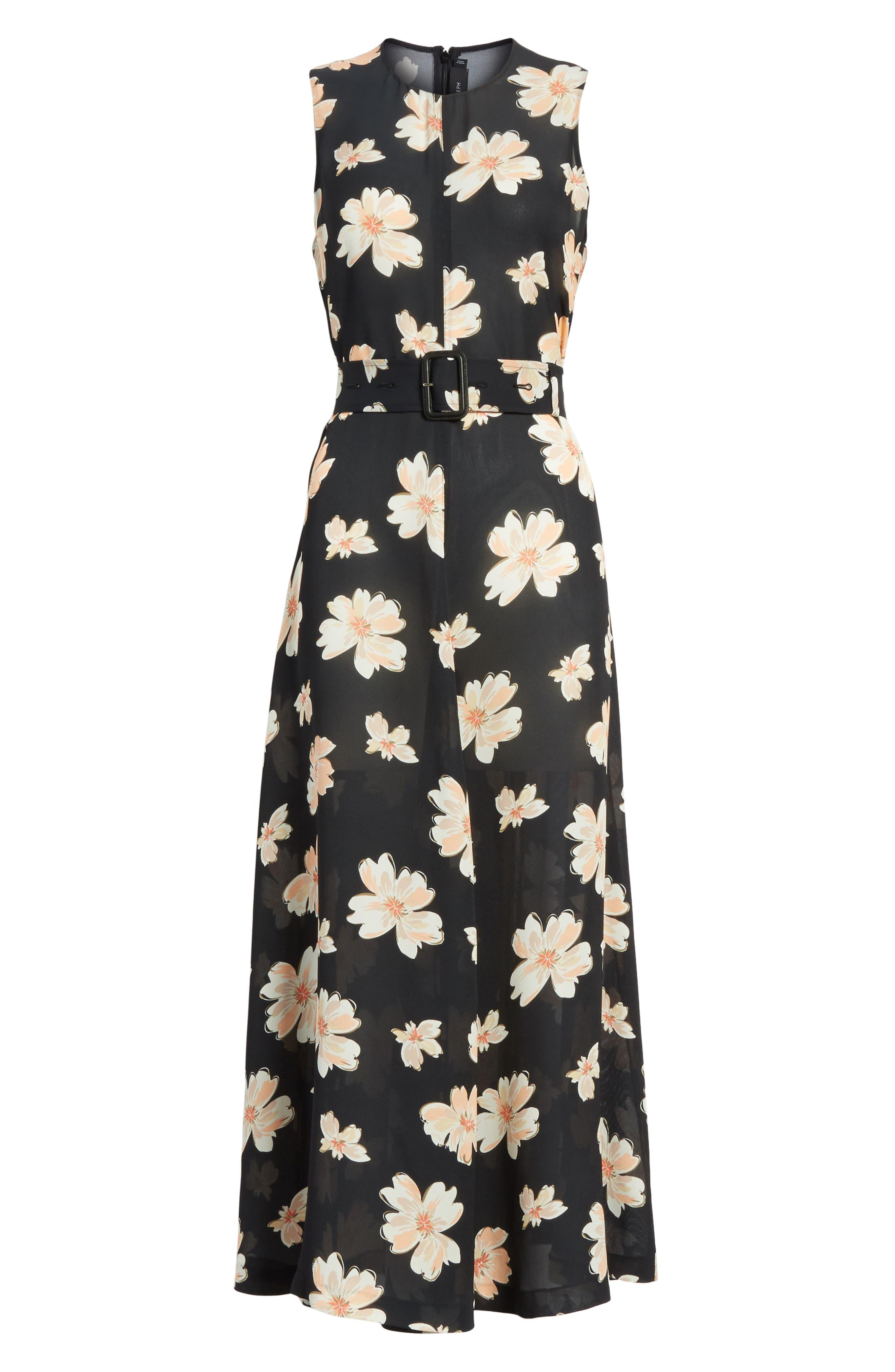 Arka Winterfloral Belted Midi Dress,                             Alternate thumbnail 6, color,                             005