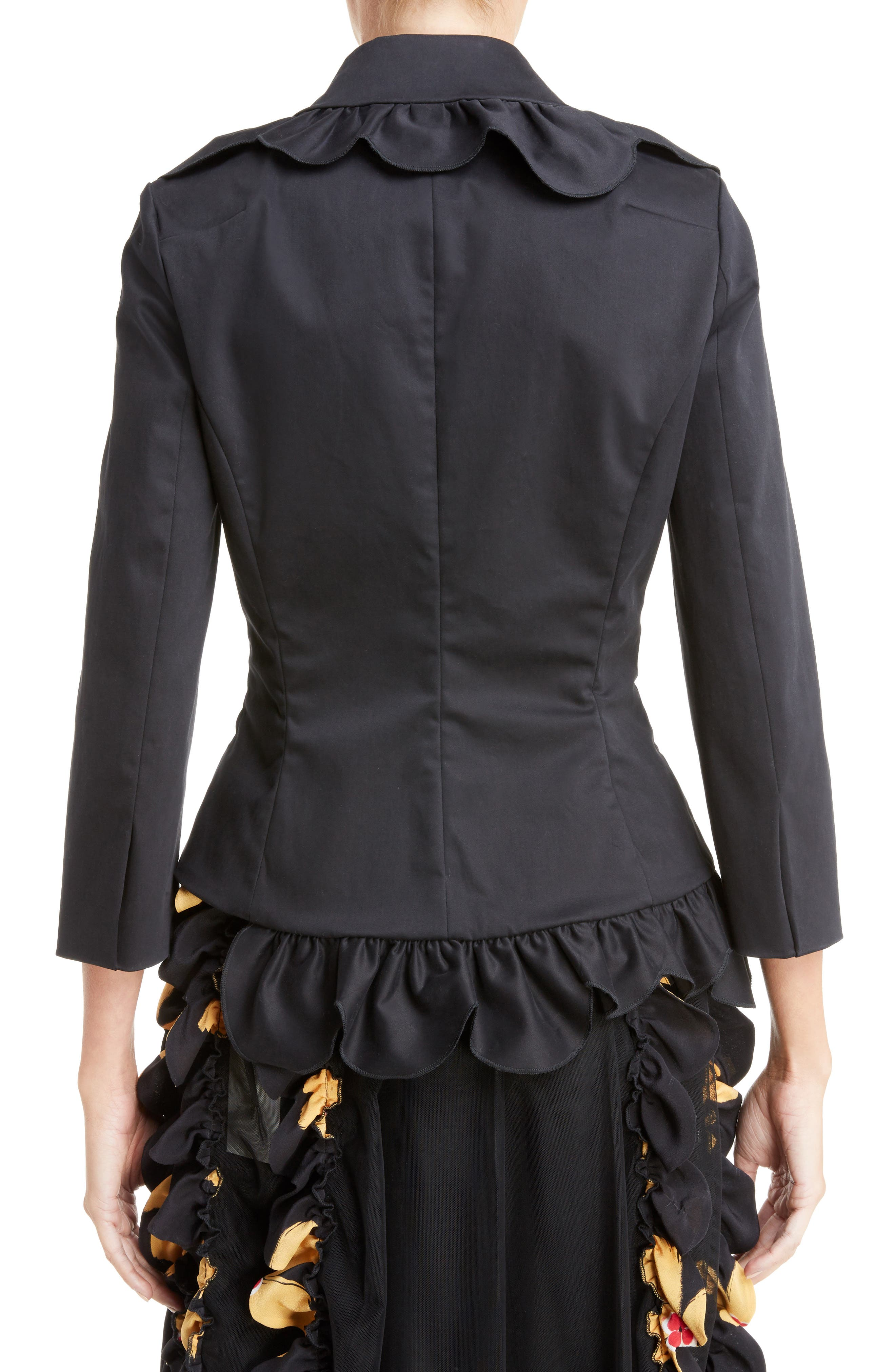 Scallop Frill Fitted Jacket,                             Alternate thumbnail 3, color,