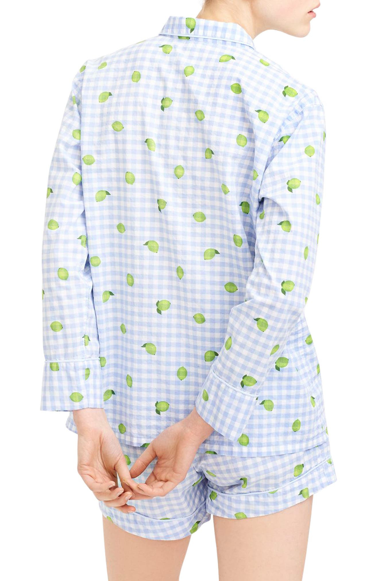 Lemon Lime Short Pajamas,                             Alternate thumbnail 2, color,                             PORT BLUE GREEN